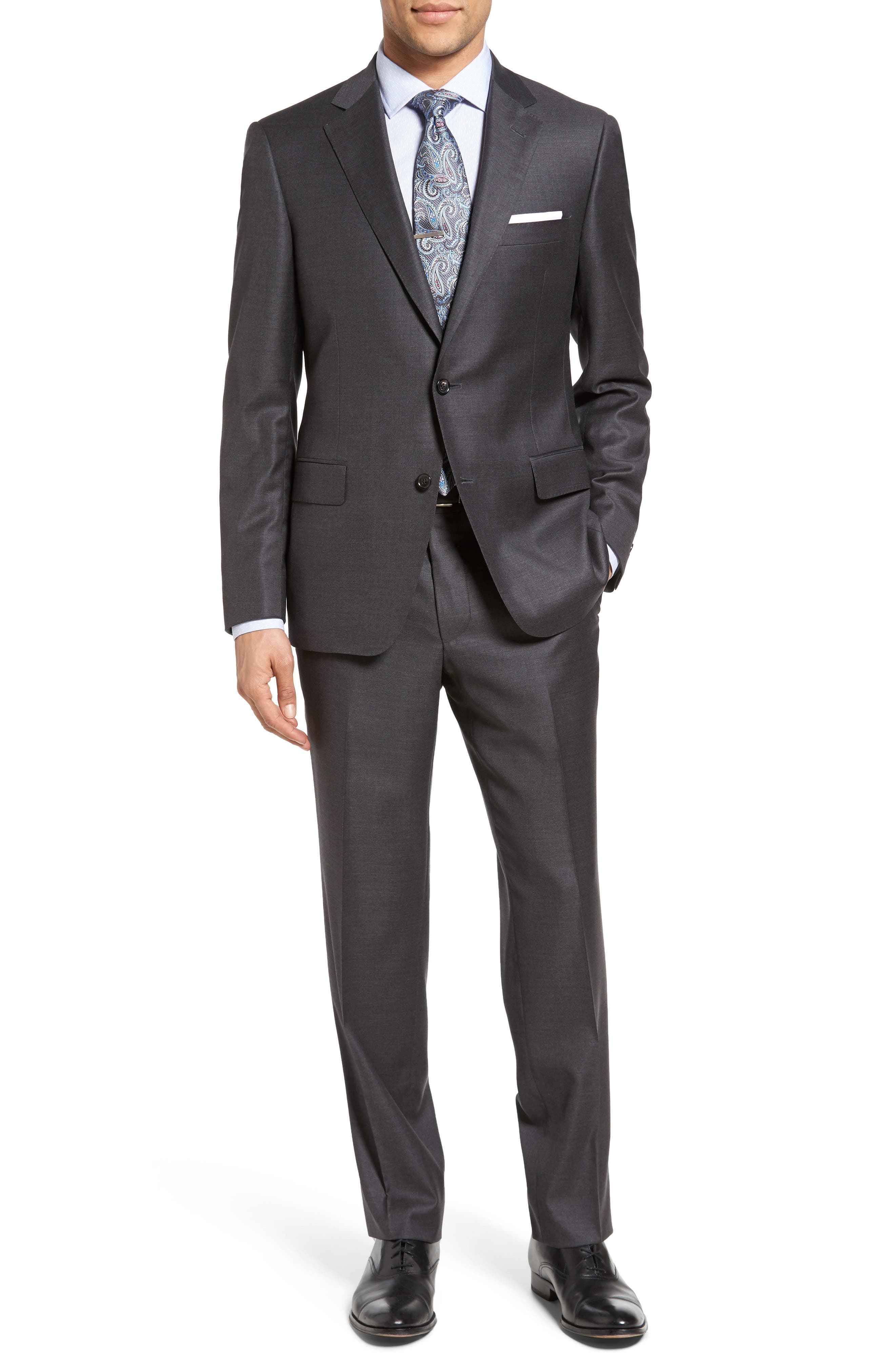 Beckett Classic Fit Solid Wool Suit,                             Main thumbnail 1, color,                             Mid Grey