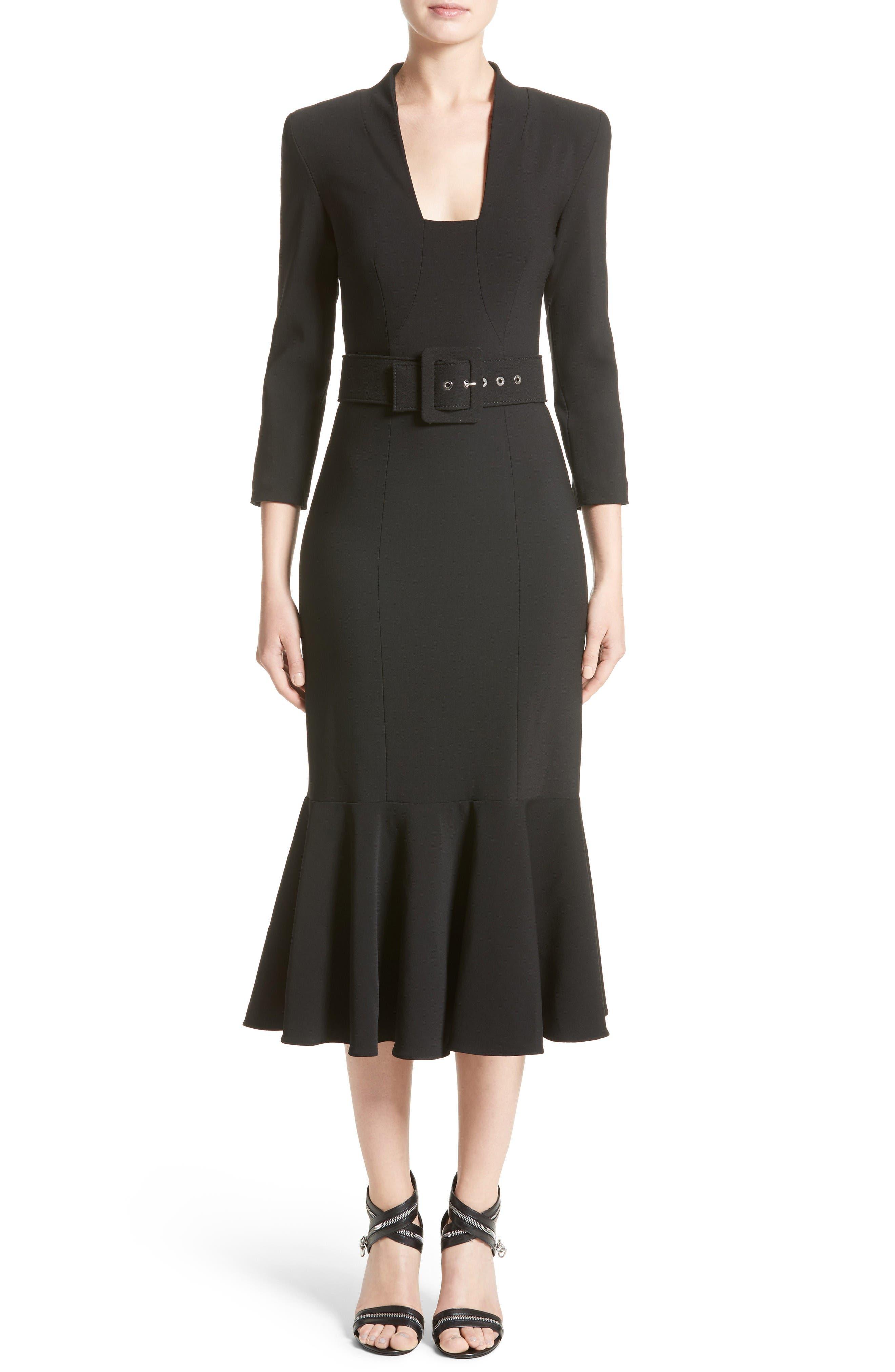 Stretch Pebble Crepe Bolero Sheath Dress,                         Main,                         color, Black