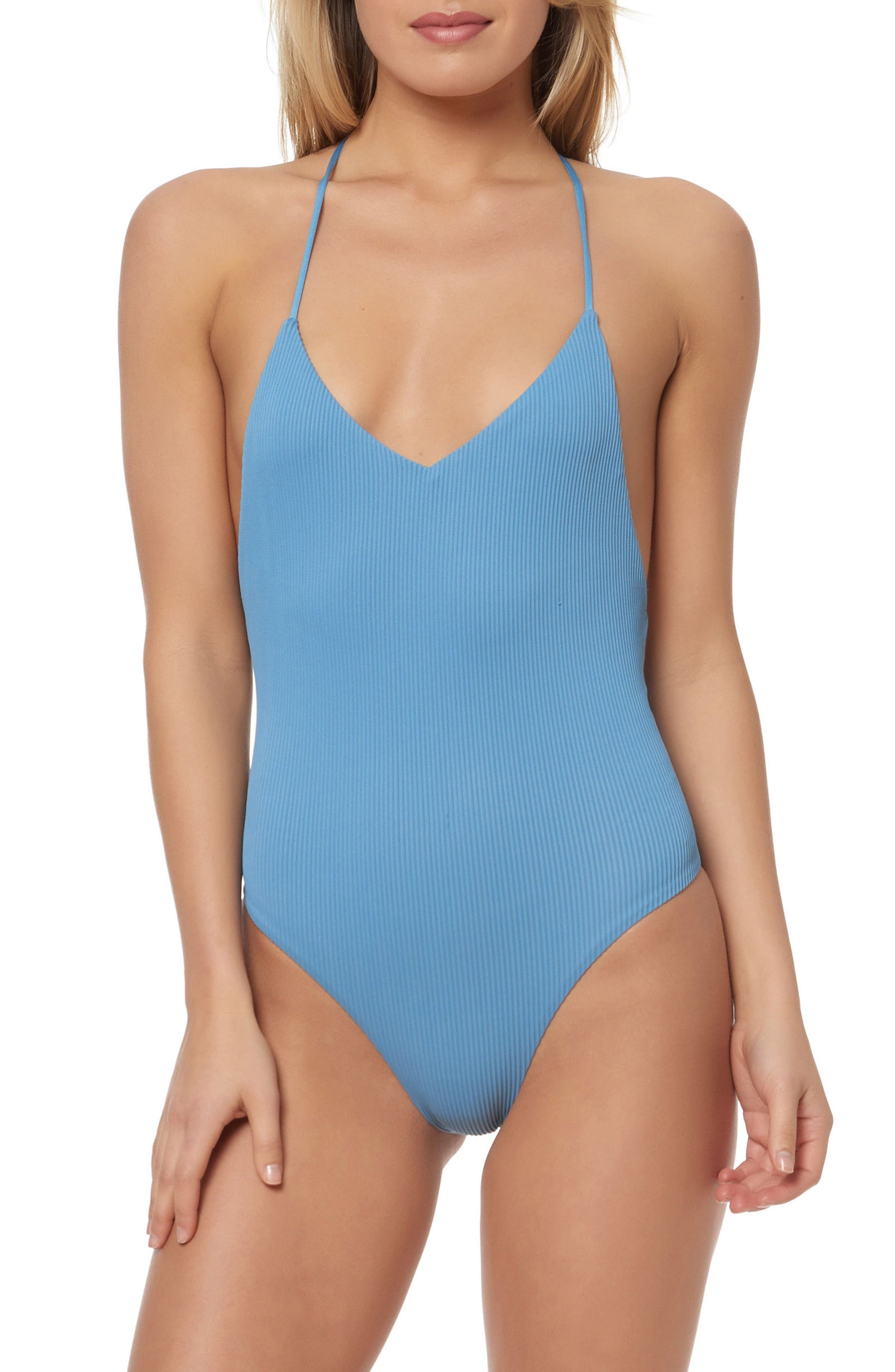 T-Back One-Piece Swimsuit,                             Main thumbnail 1, color,                             Skinny Dip