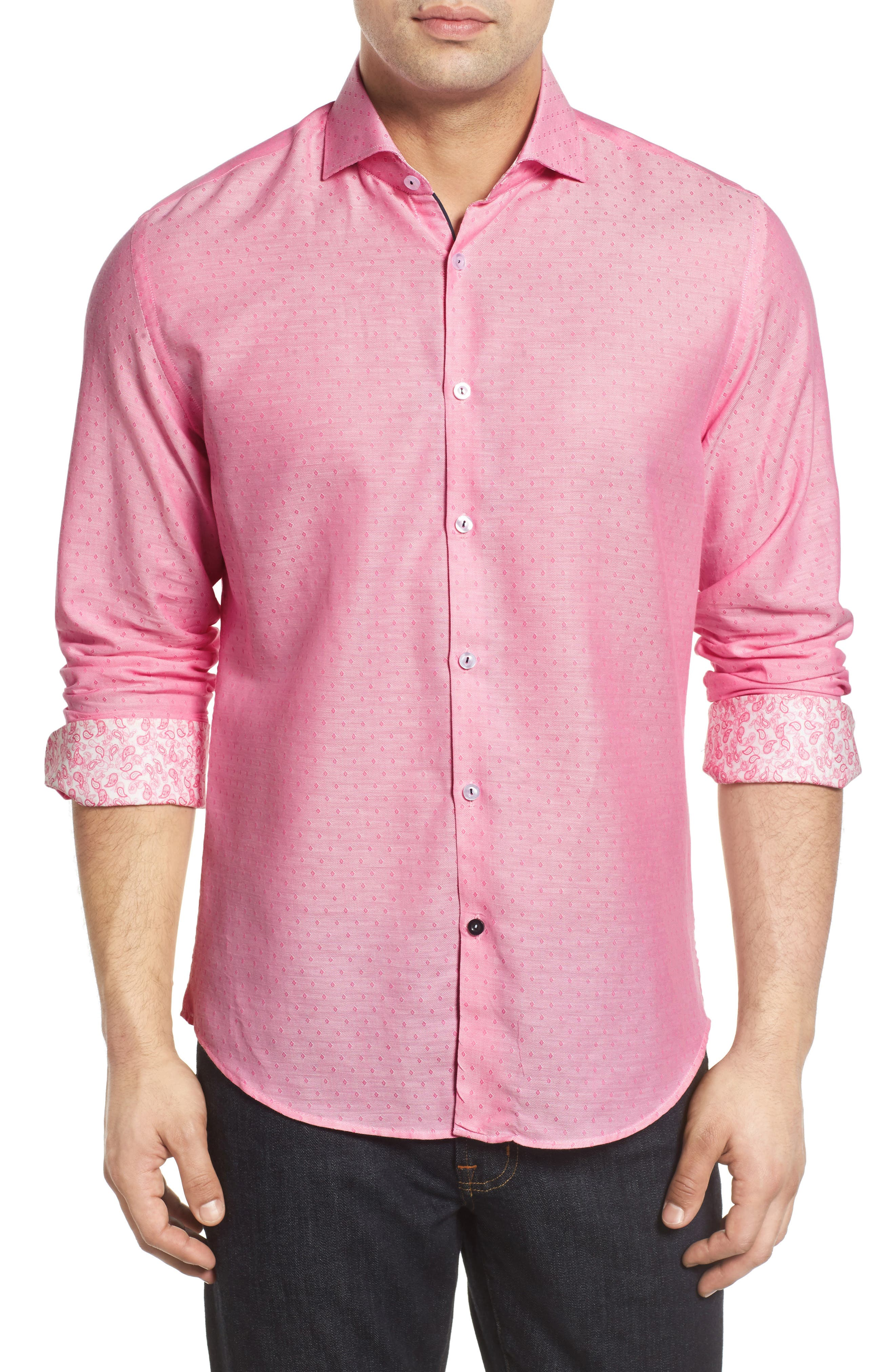 Slim Fit Diamond Twill Sport Shirt,                             Main thumbnail 1, color,                             Pink
