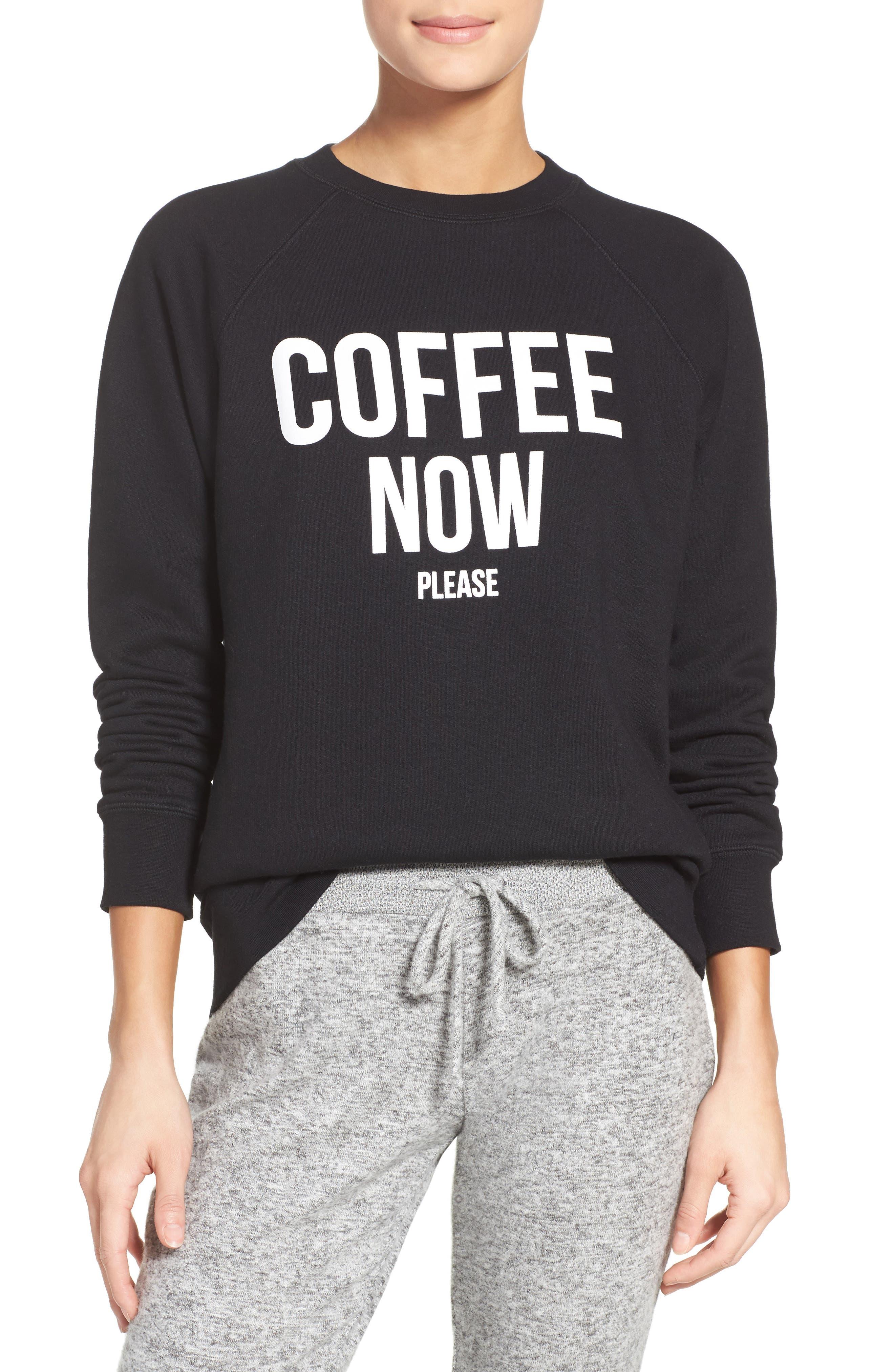 Brunette 'Coffee Now' Crewneck Sweatshirt,                         Main,                         color, Black