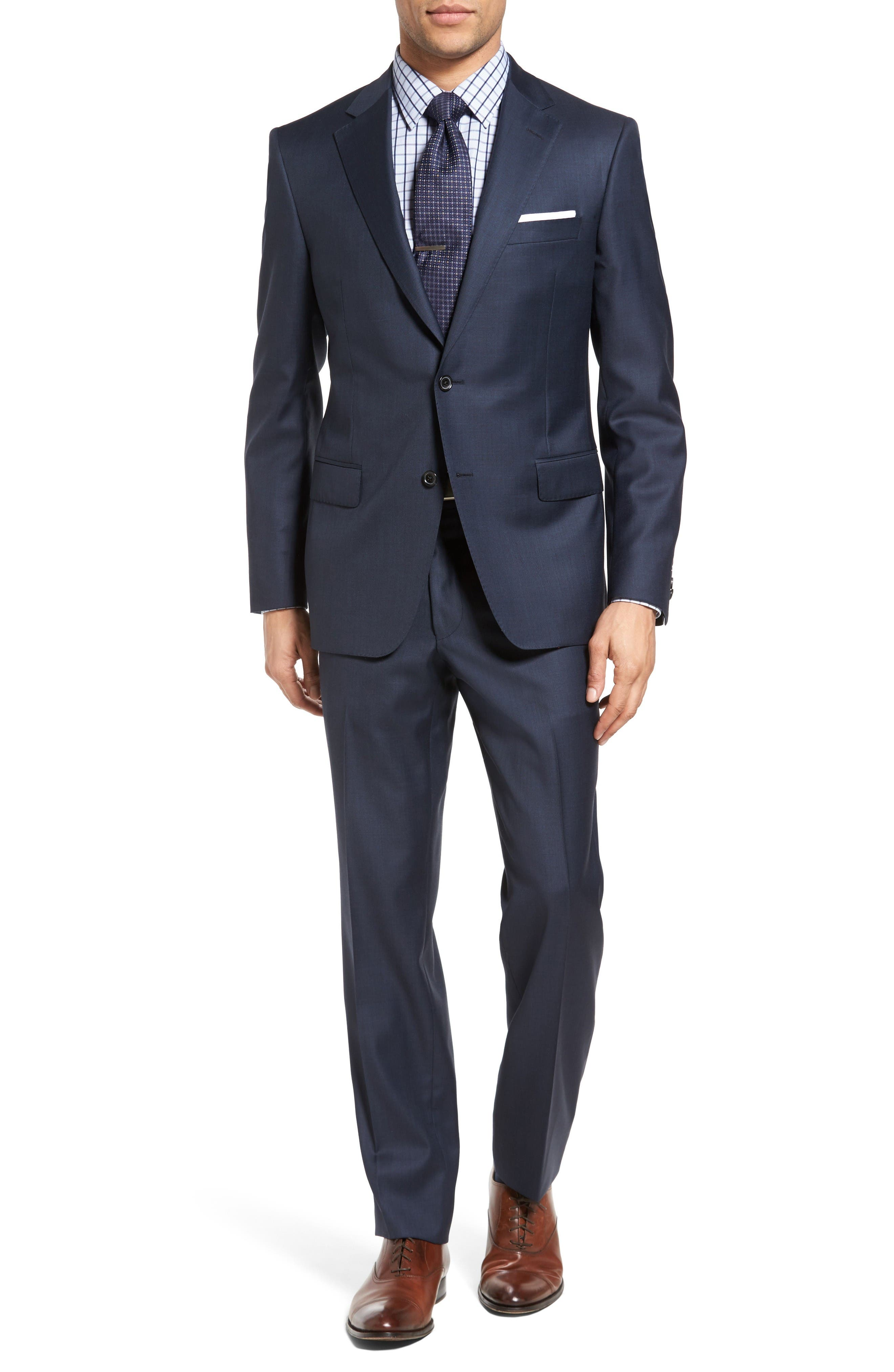 Classic Fit Sharkskin Wool Suit,                         Main,                         color, Navy