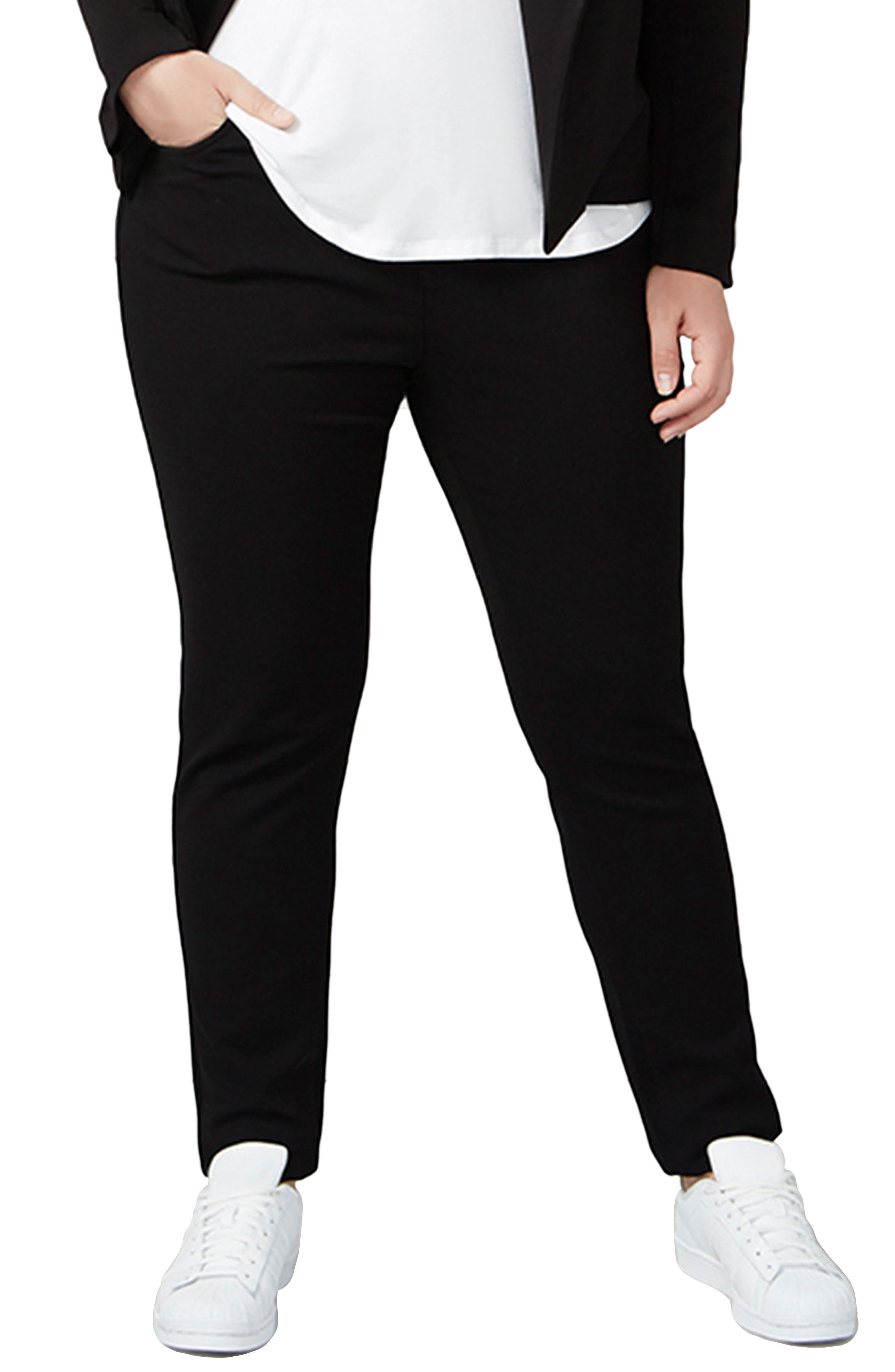 Ponte Knit Pants,                             Main thumbnail 1, color,                             Black