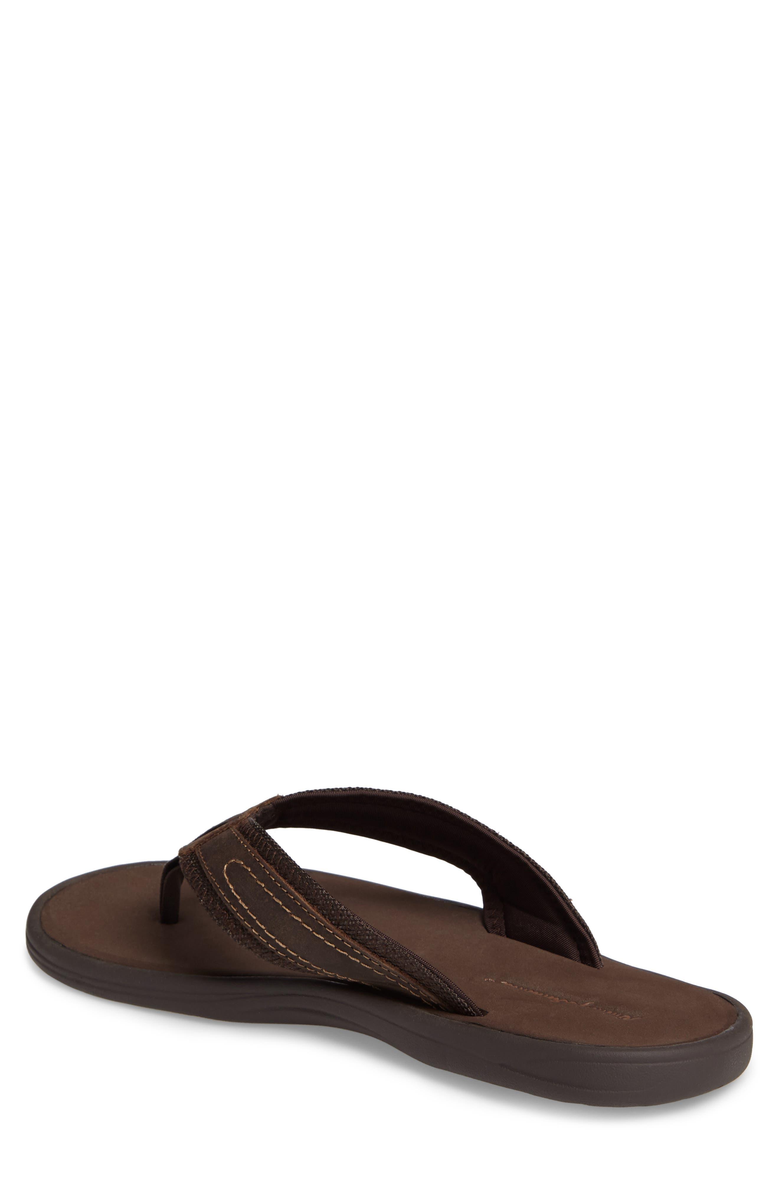 Seawell Flip Flop,                             Alternate thumbnail 2, color,                             Dark Brown Leather