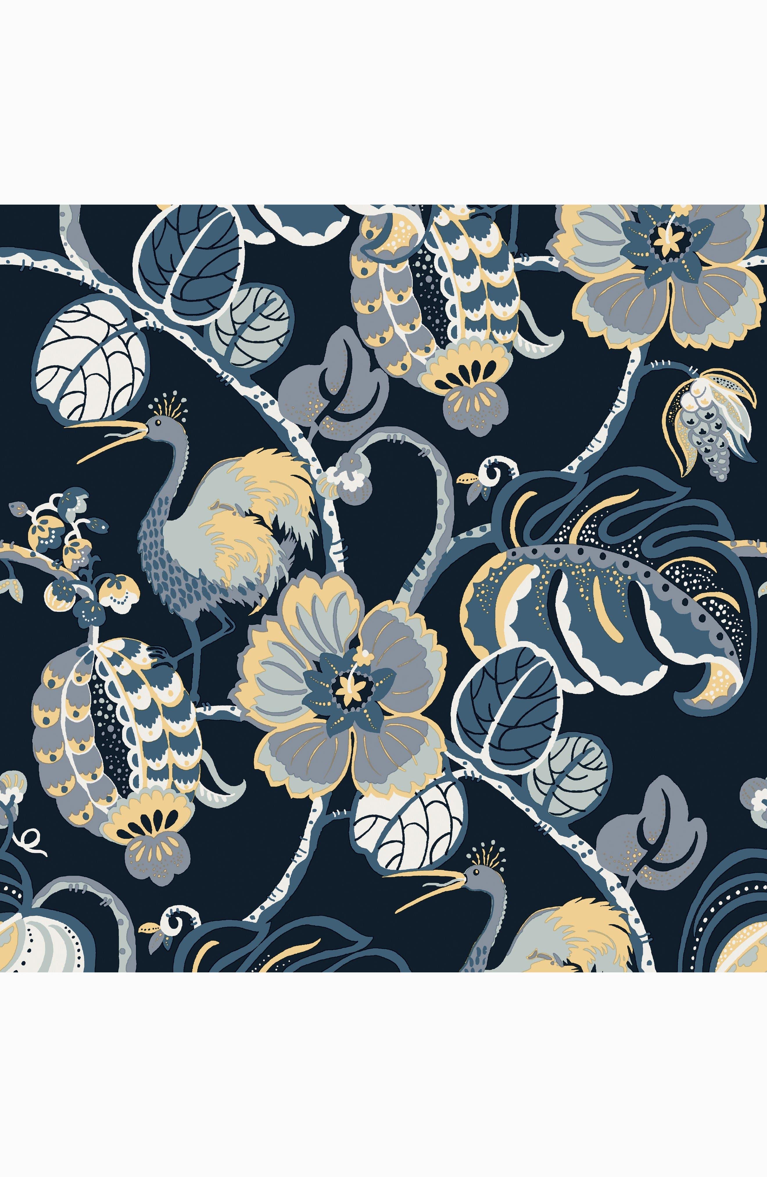 Tropical Fête Self-Adhesive Vinyl Wallpaper,                             Main thumbnail 1, color,                             Azure Blue