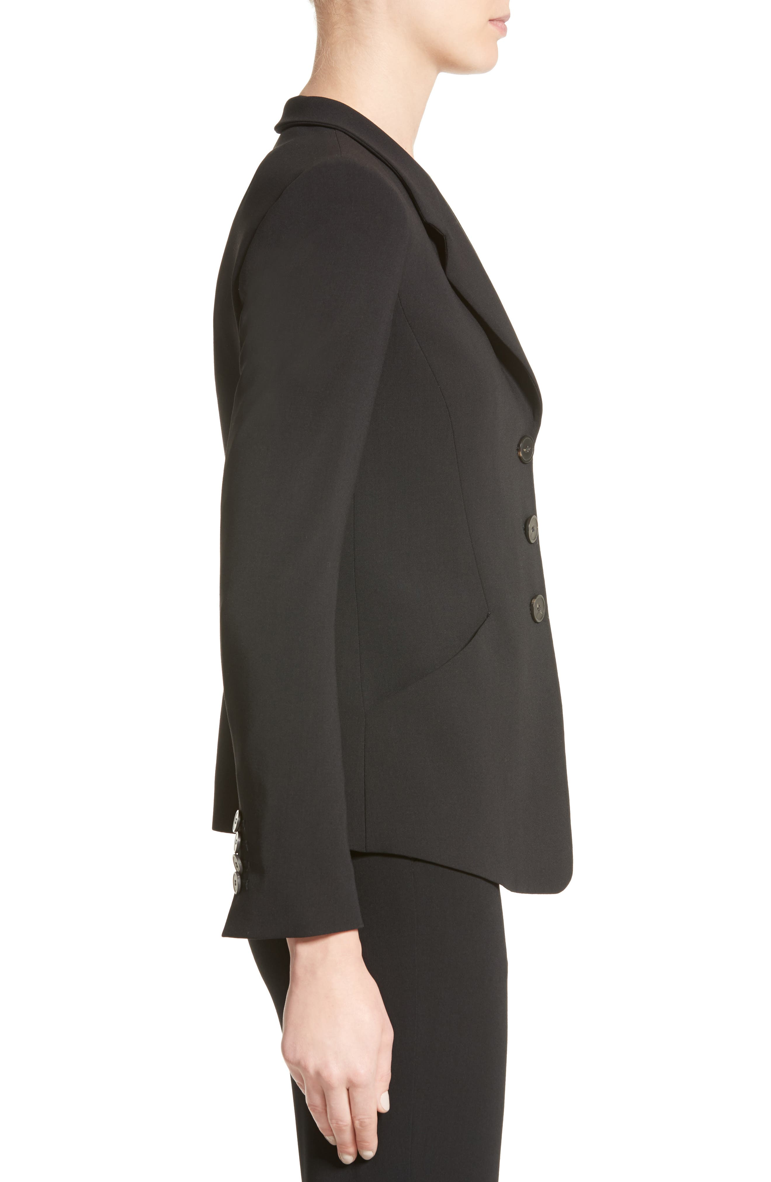 Stretch Wool Jacket,                             Alternate thumbnail 5, color,                             Black
