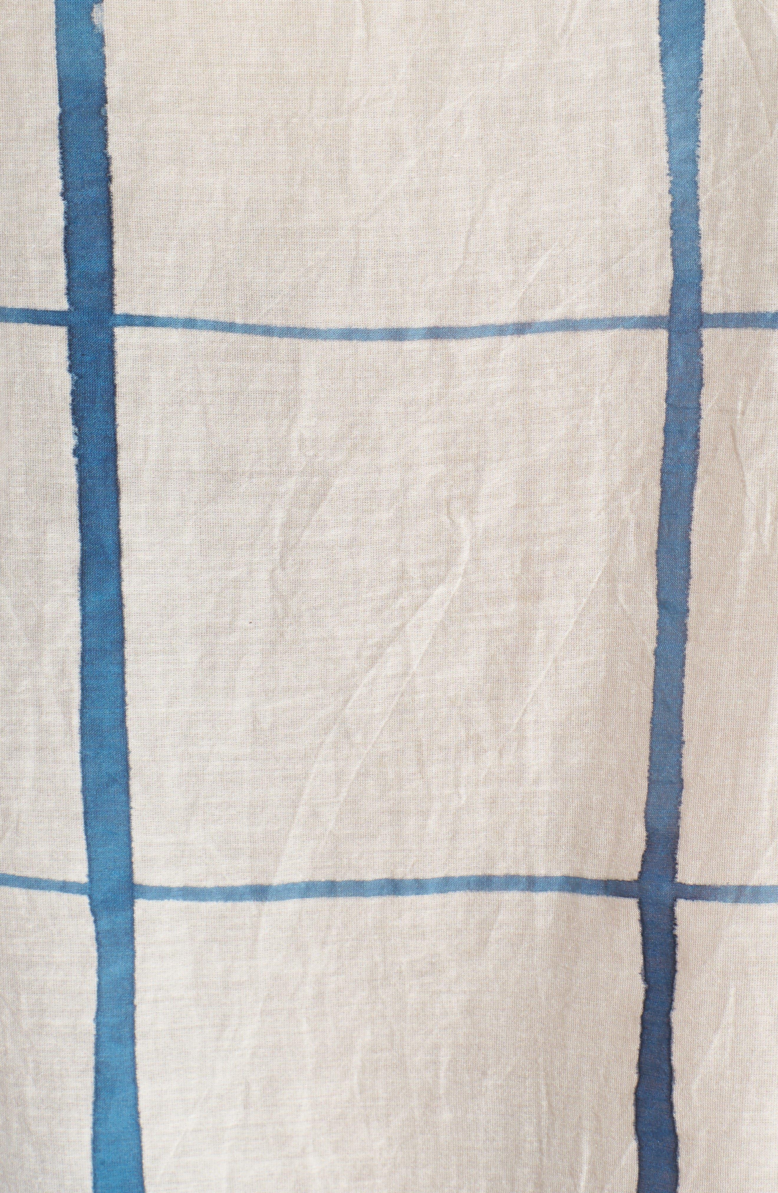 Check Organic Cotton & Silk Top,                             Alternate thumbnail 5, color,                             Chambray