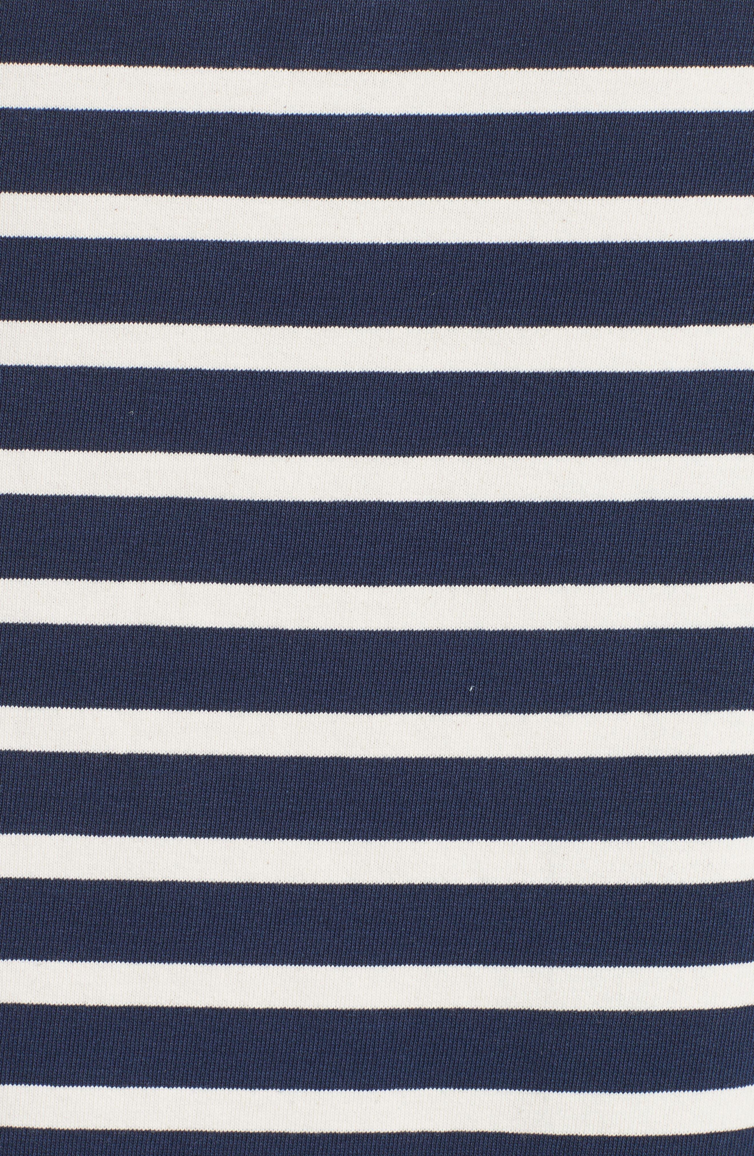 Reverse Breton Stripe Dress,                             Alternate thumbnail 3, color,                             Navy/ Ecru
