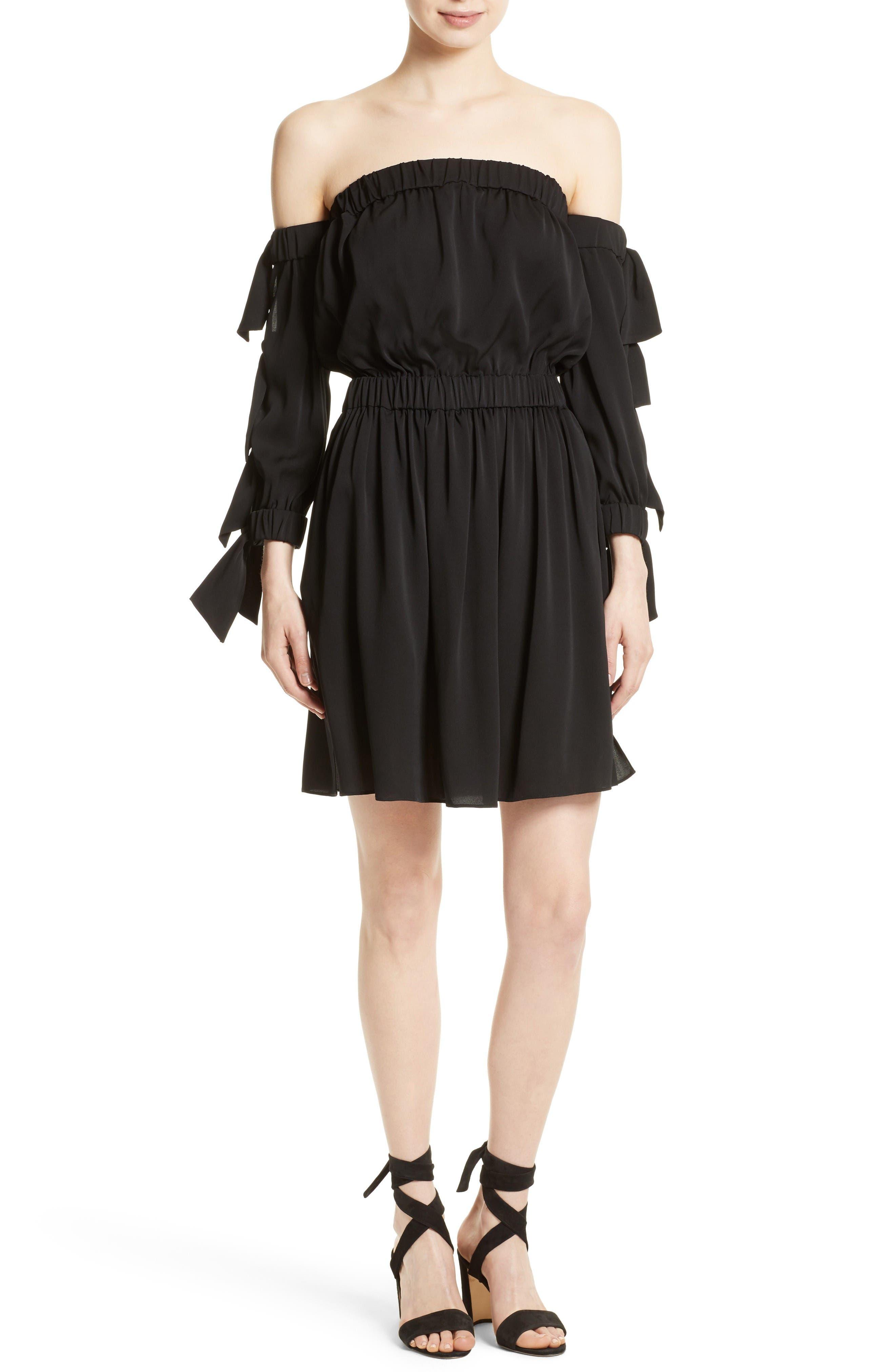 Milly Jillian Stretch Silk Off the Shoulder Dress