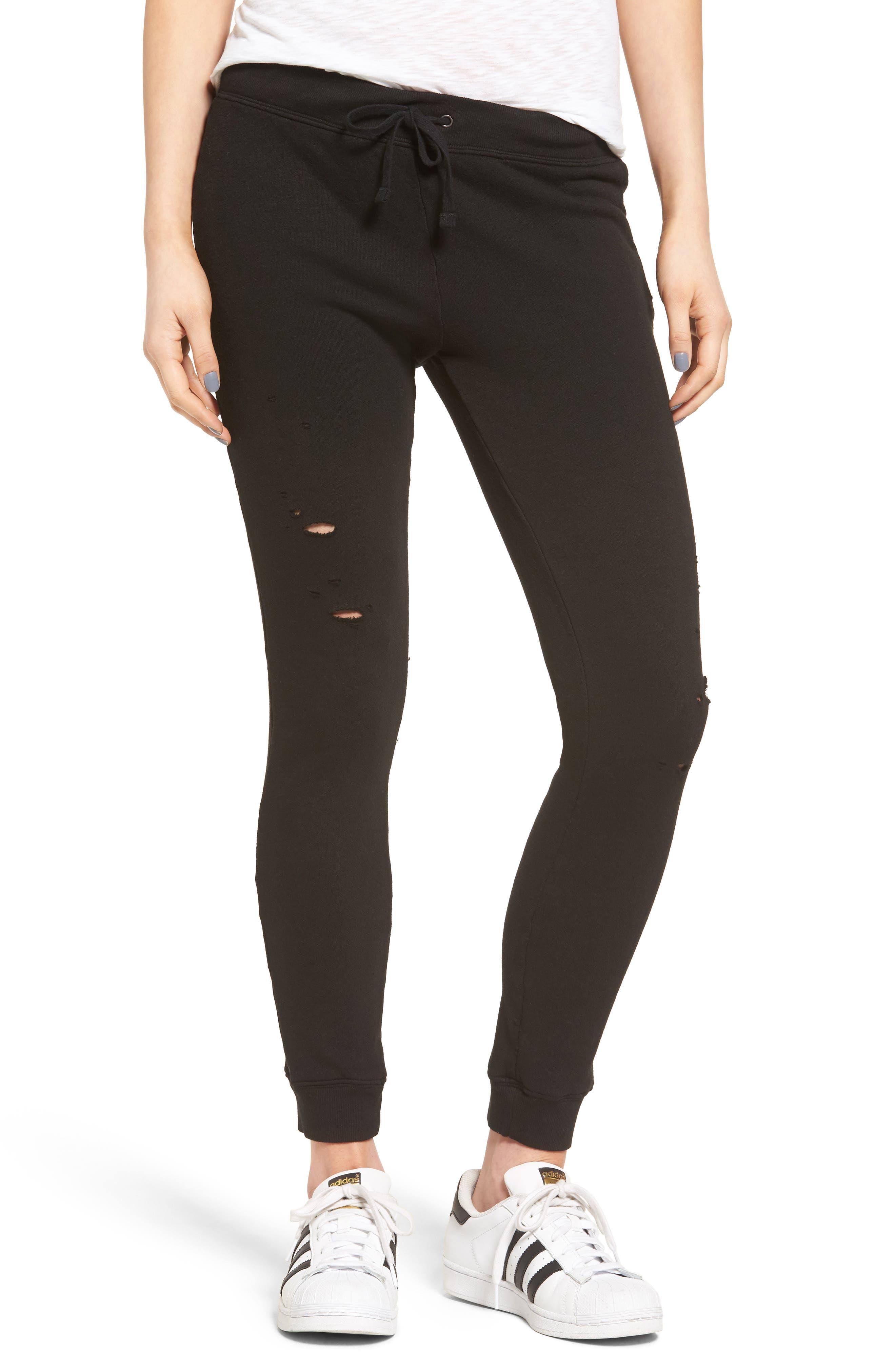 Betsee Distressed Jogger Pants,                             Main thumbnail 1, color,                             Black
