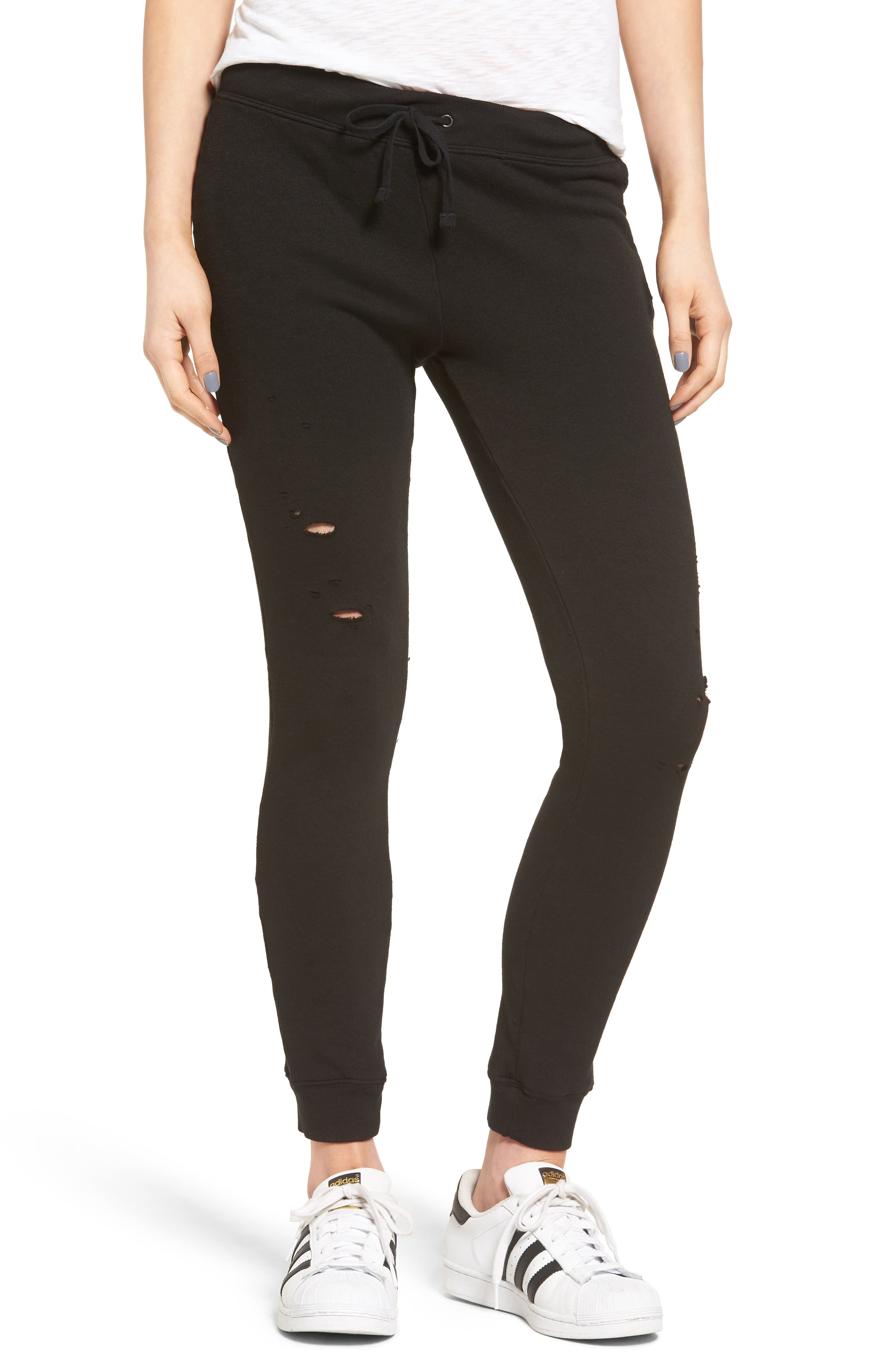 Alternate Image 1 Selected - Pam & Gela Betsee Distressed Jogger Pants