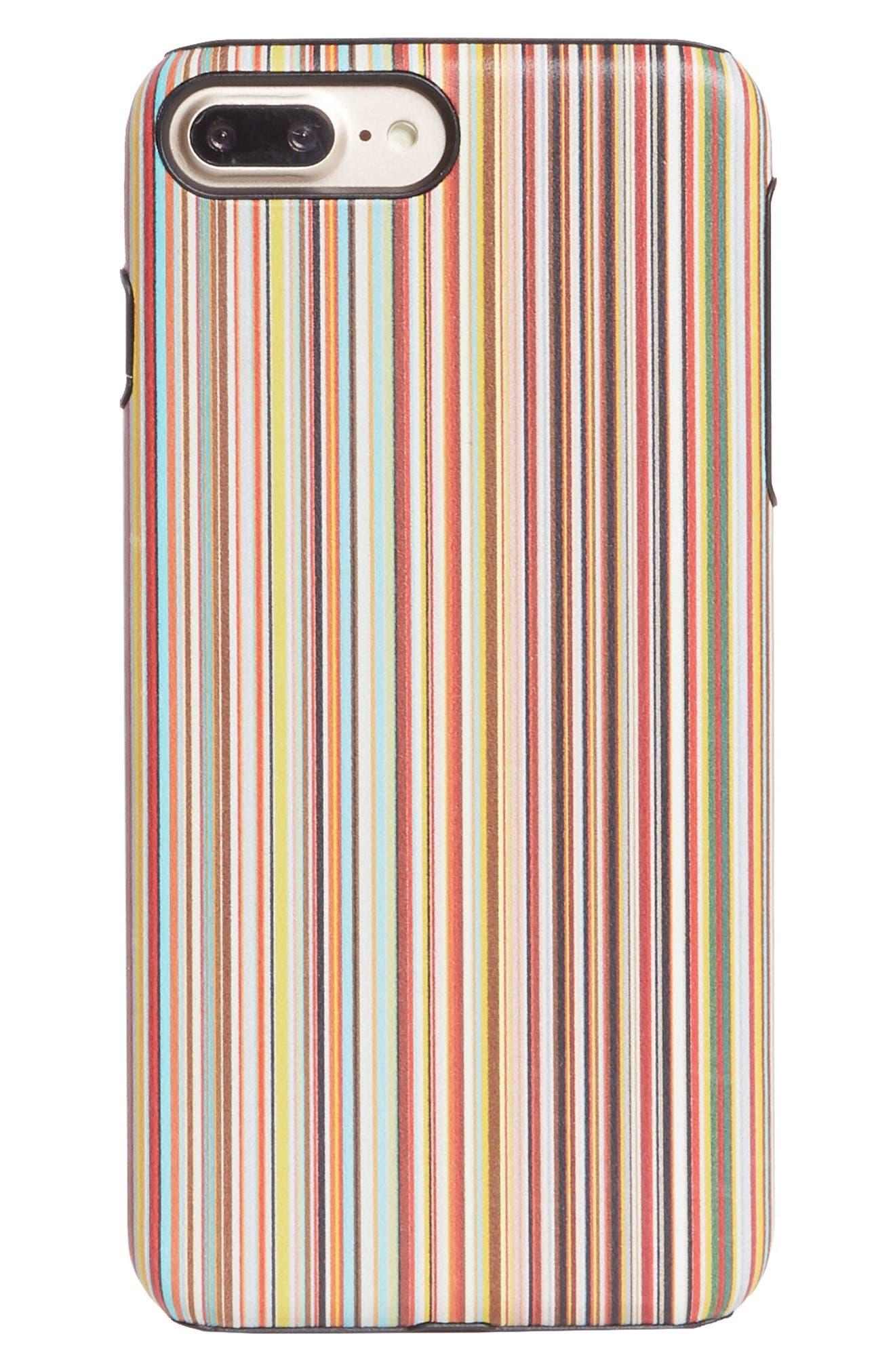 Multistripe iPhone 7 Plus/8 Plus Case,                             Main thumbnail 1, color,                             Black