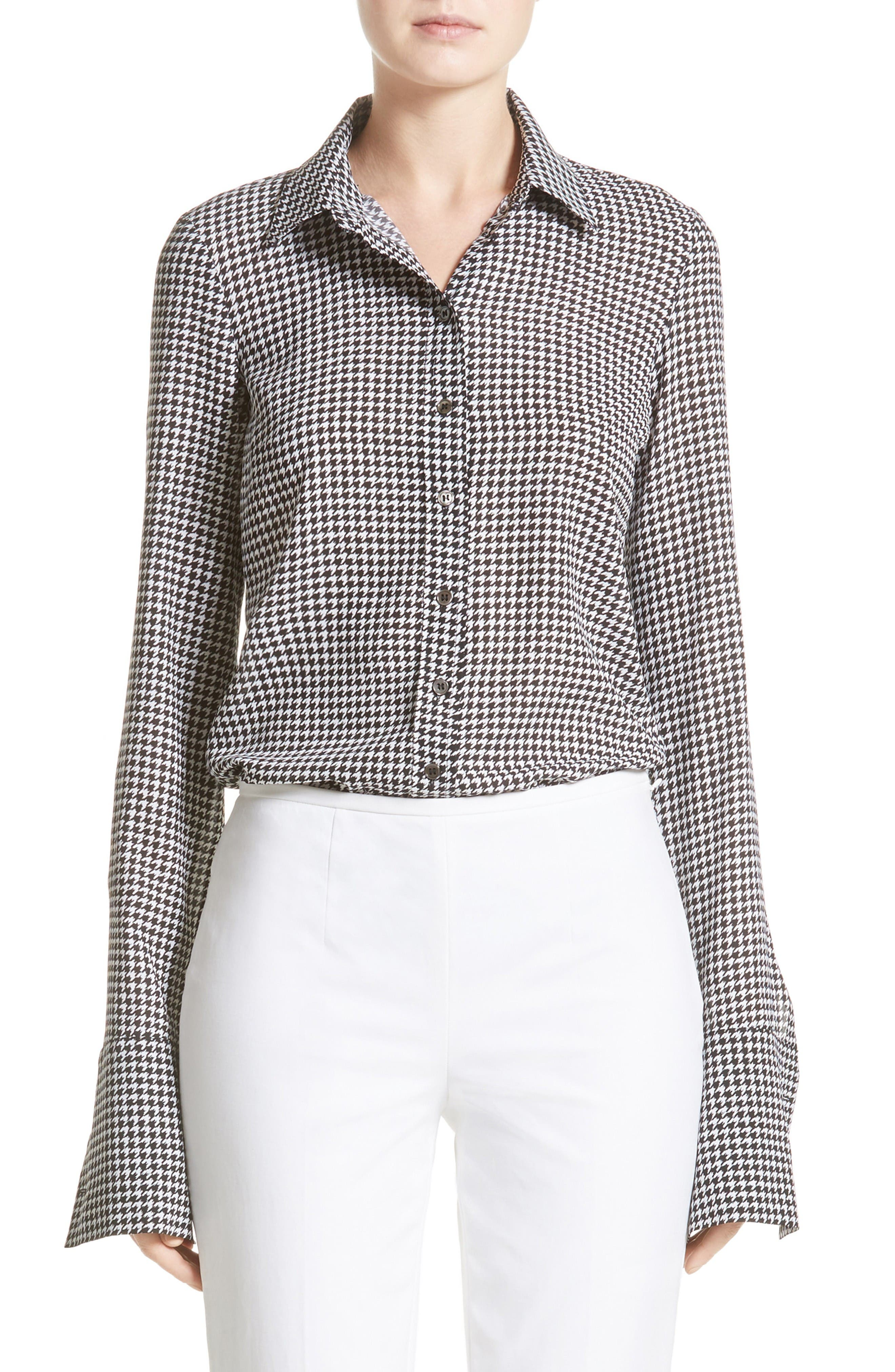 Houndstooth Silk Georgette Shirt,                         Main,                         color, Black/ White