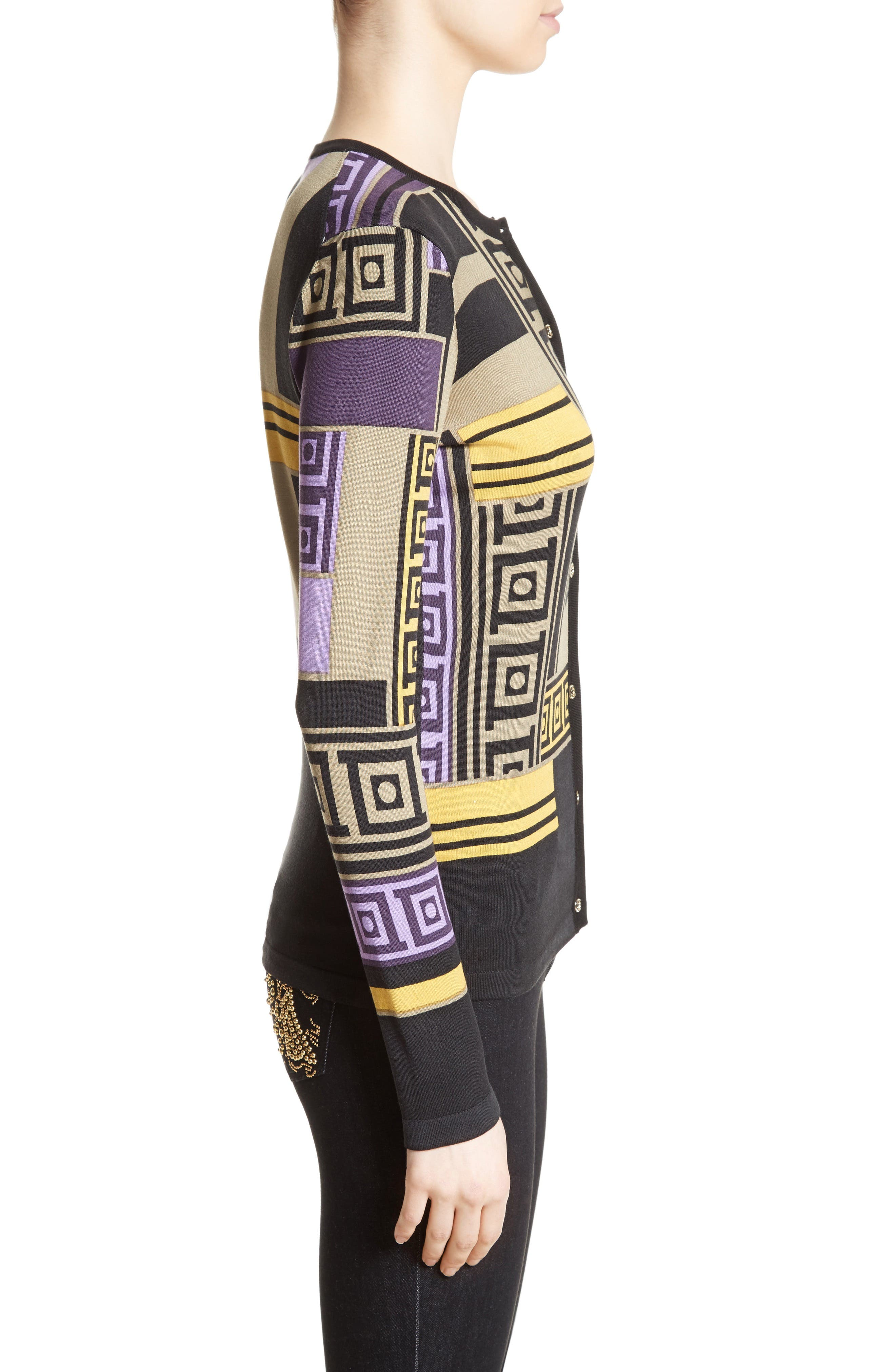 Alternate Image 5  - Versace Collection Tetris Silk Blend Cardigan