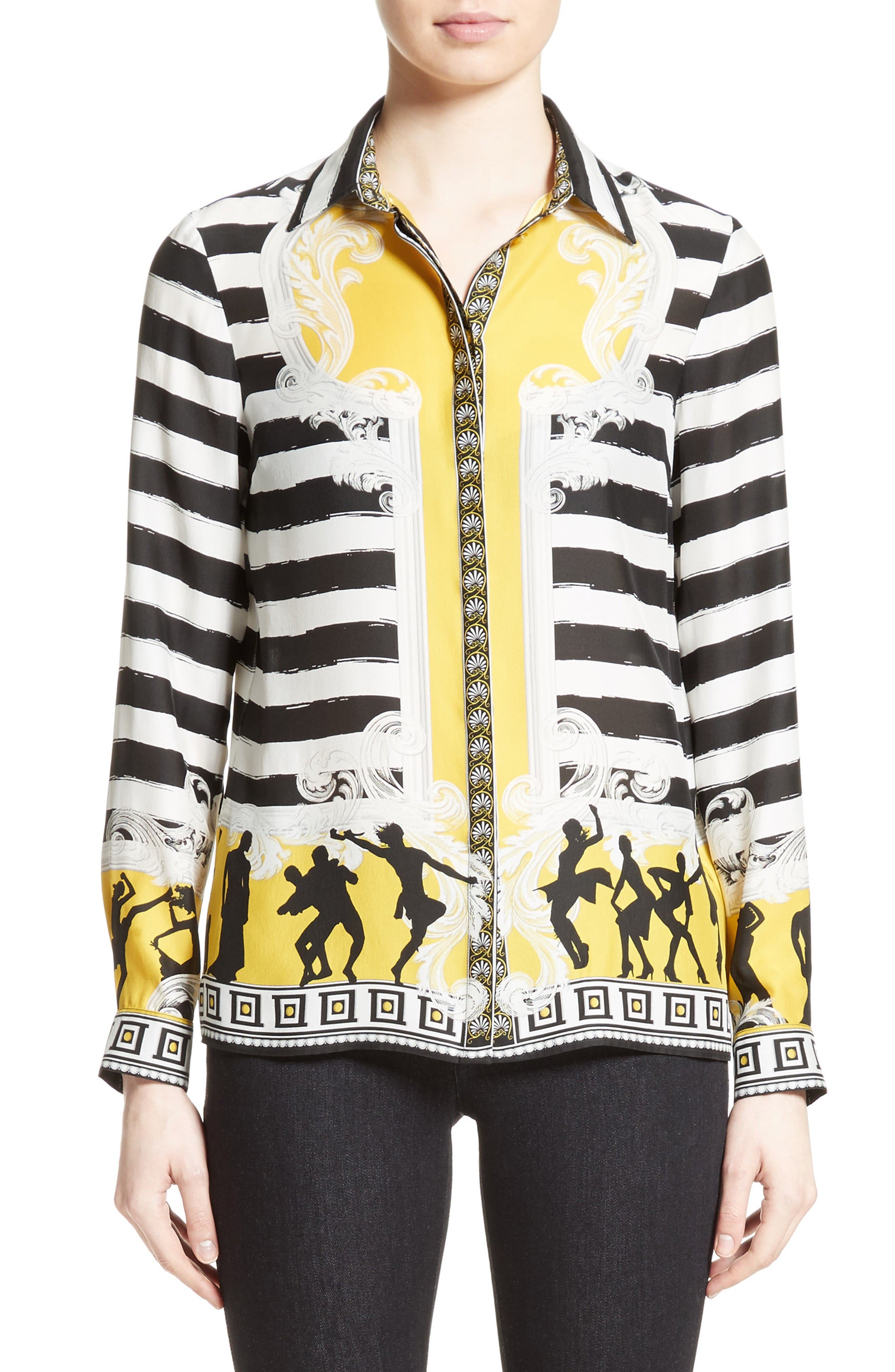 Catwalk Print Silk Blouse,                         Main,                         color, White/ Yellow