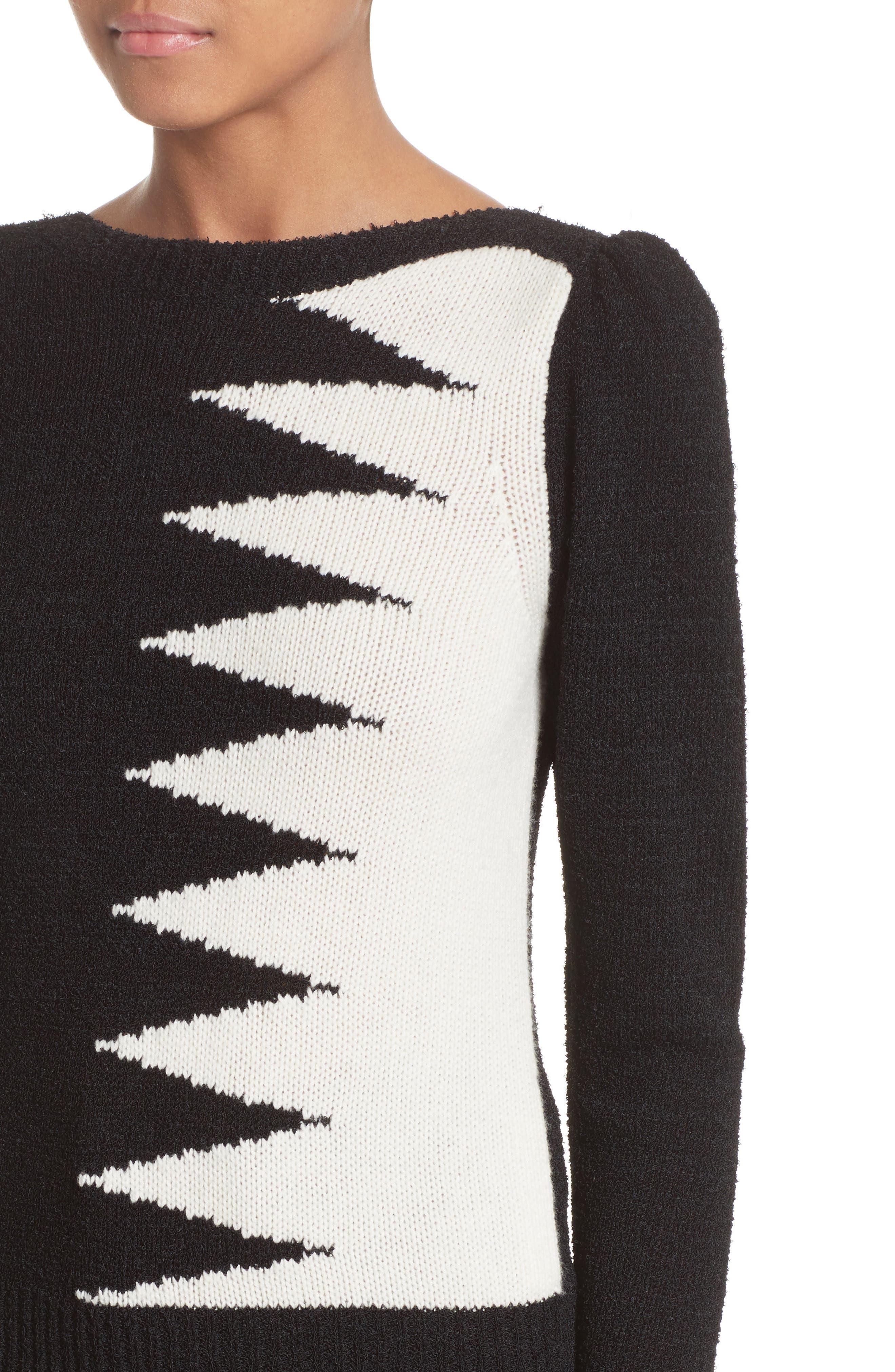 40s Intarsia Sweater,                             Alternate thumbnail 7, color,                             Black Multi