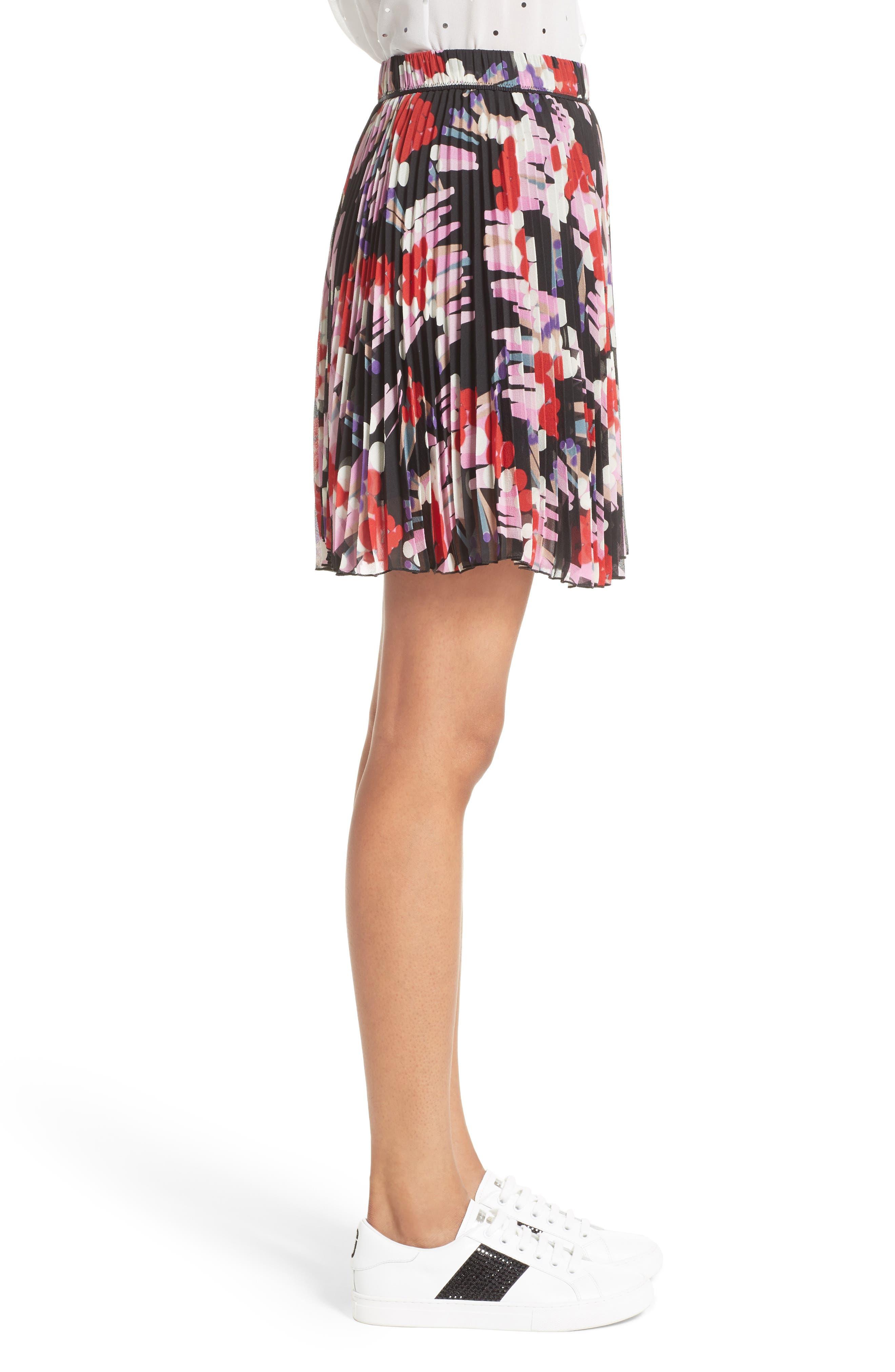 Pleated Print Silk Skirt,                             Alternate thumbnail 5, color,                             Black Multi