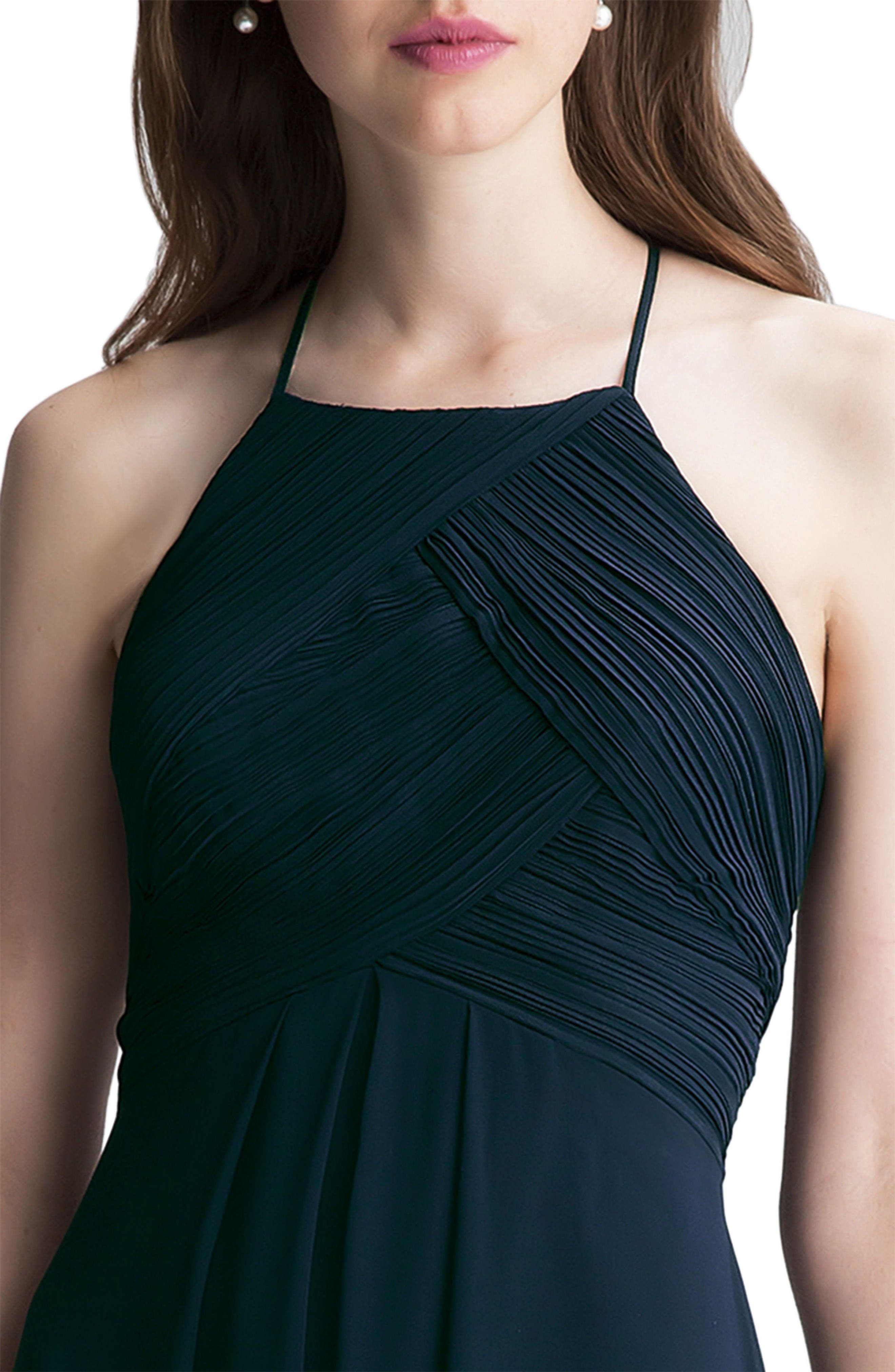 Alternate Image 3  - #Levkoff Halter Chiffon A-Line Gown
