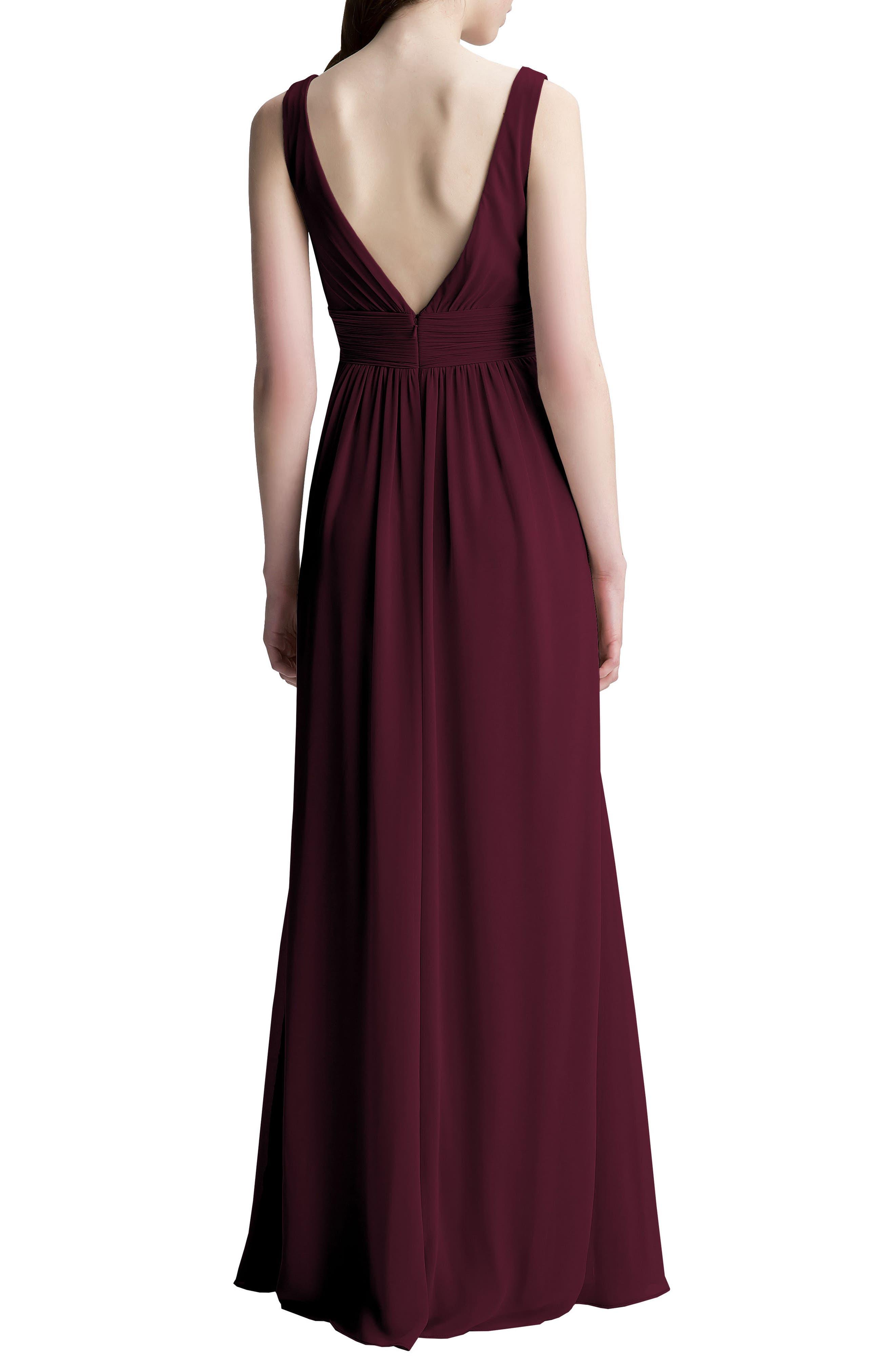 Alternate Image 2  - #Levkoff V-Neck Chiffon A-Line Gown