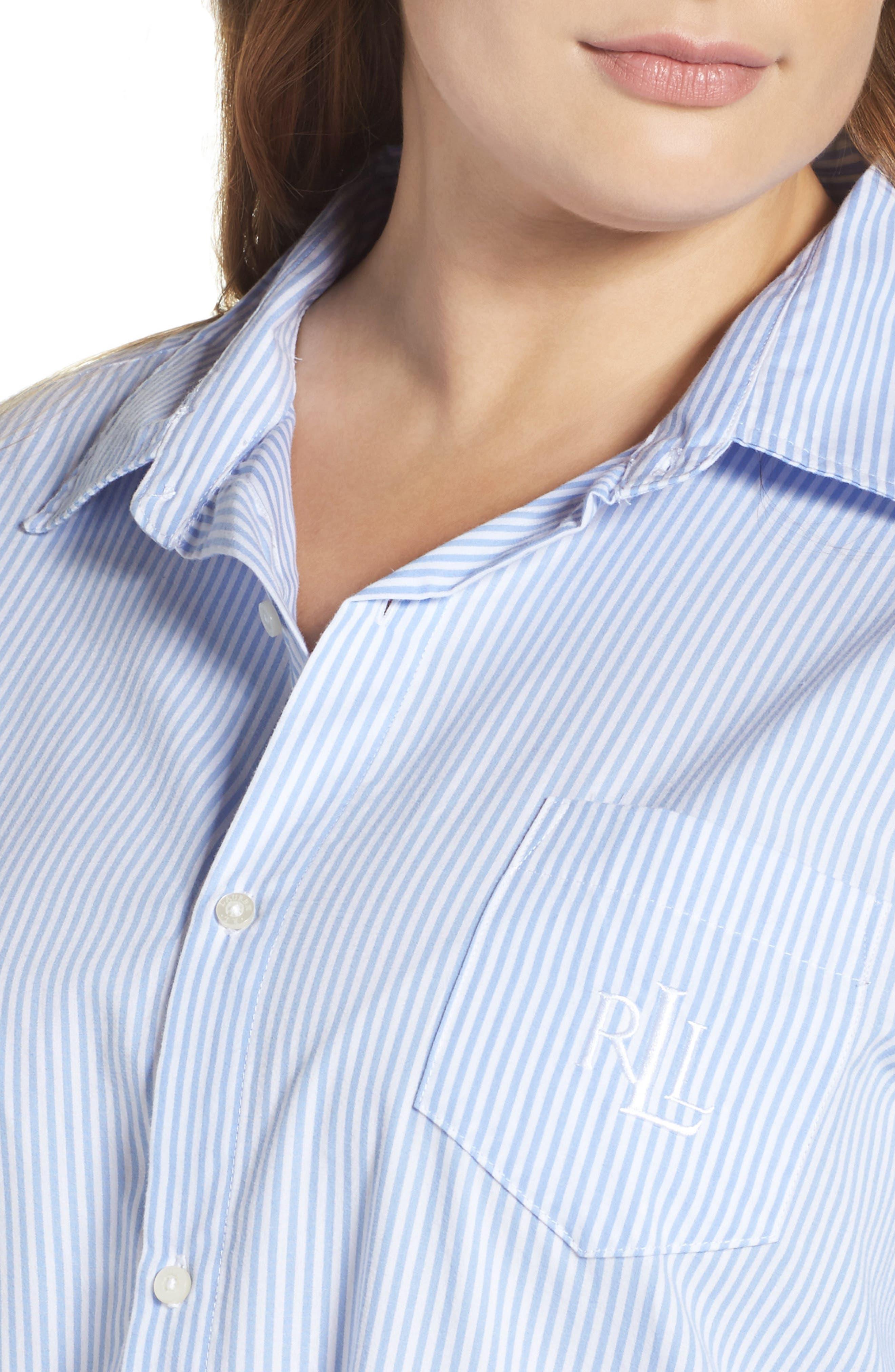 Sleep Shirt,                             Alternate thumbnail 4, color,                             Stripe French Blue/ White