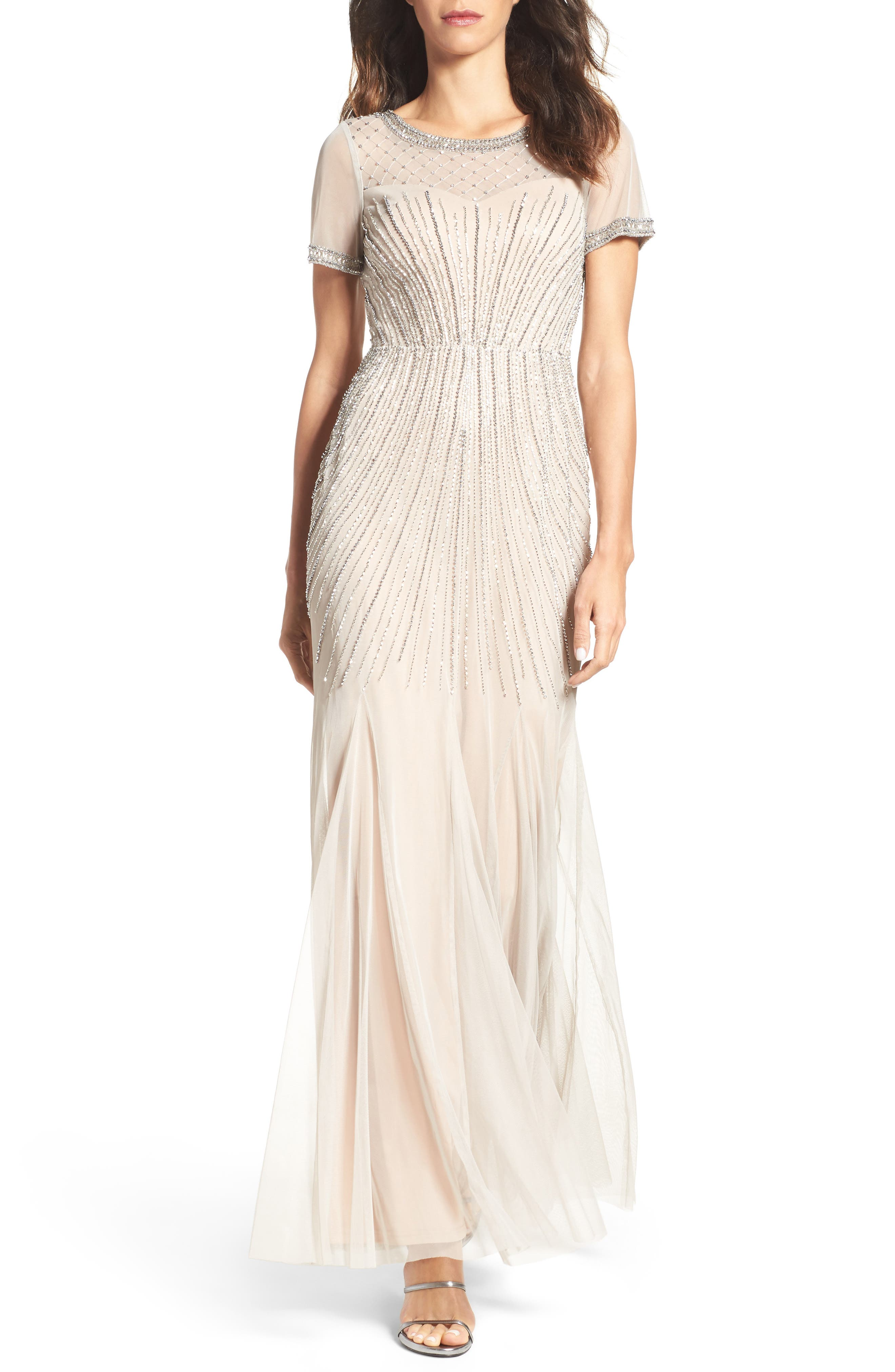 Beaded Mesh Gown,                         Main,                         color, Silver/ Nude