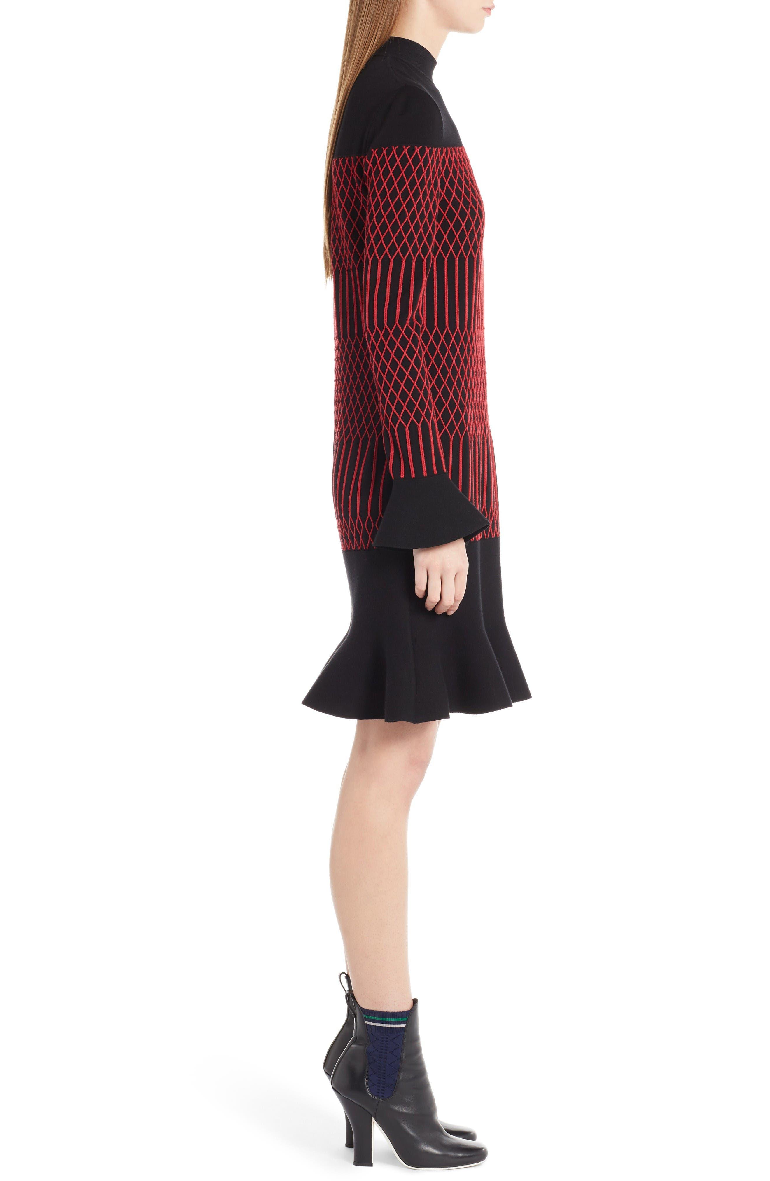 Lozenge Knit Flutter Hem Dress,                             Alternate thumbnail 4, color,                             Black/ Poppy