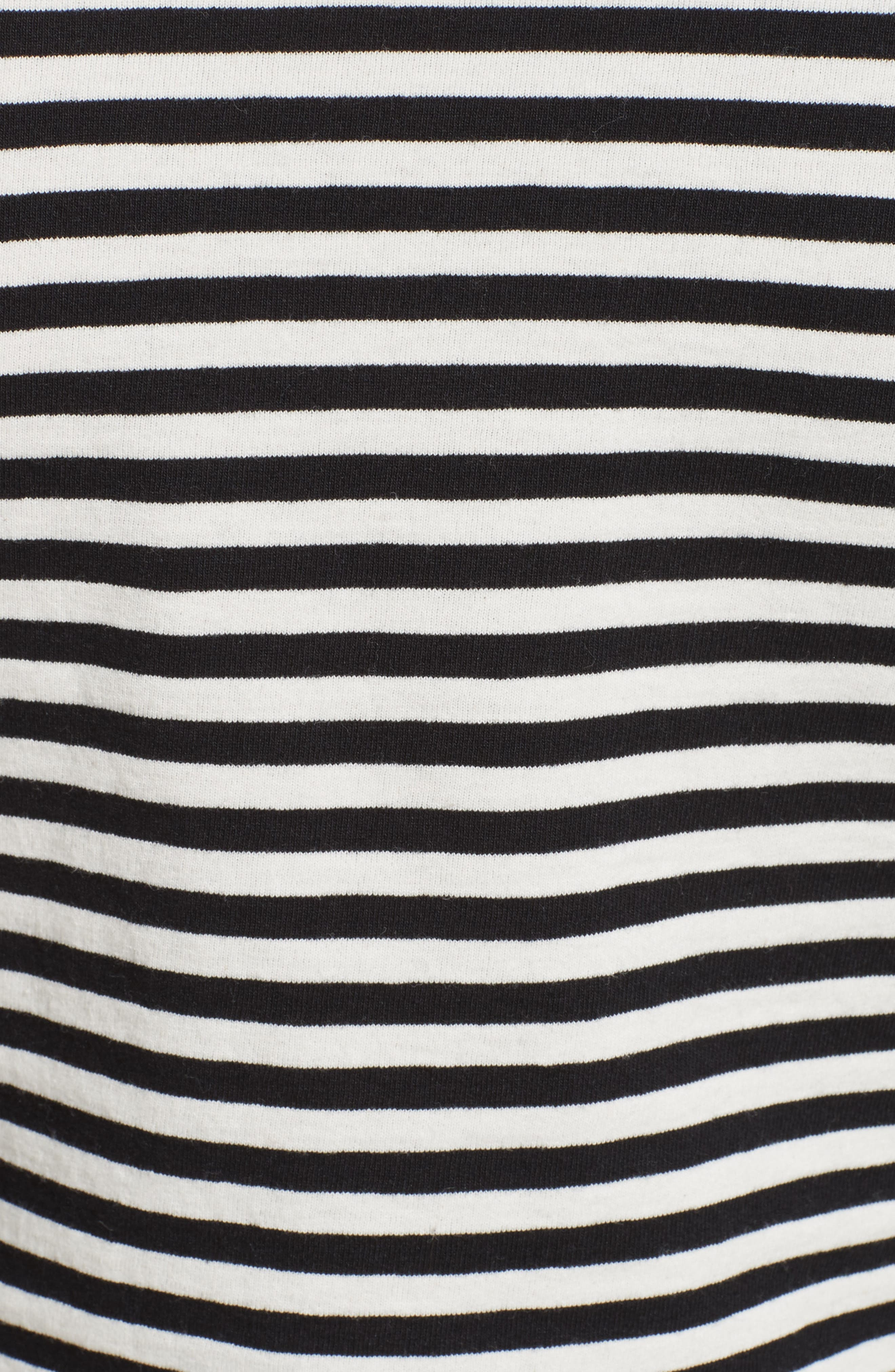 Stripe Cotton Puff Sleeve Top,                             Alternate thumbnail 4, color,                             Black Multi