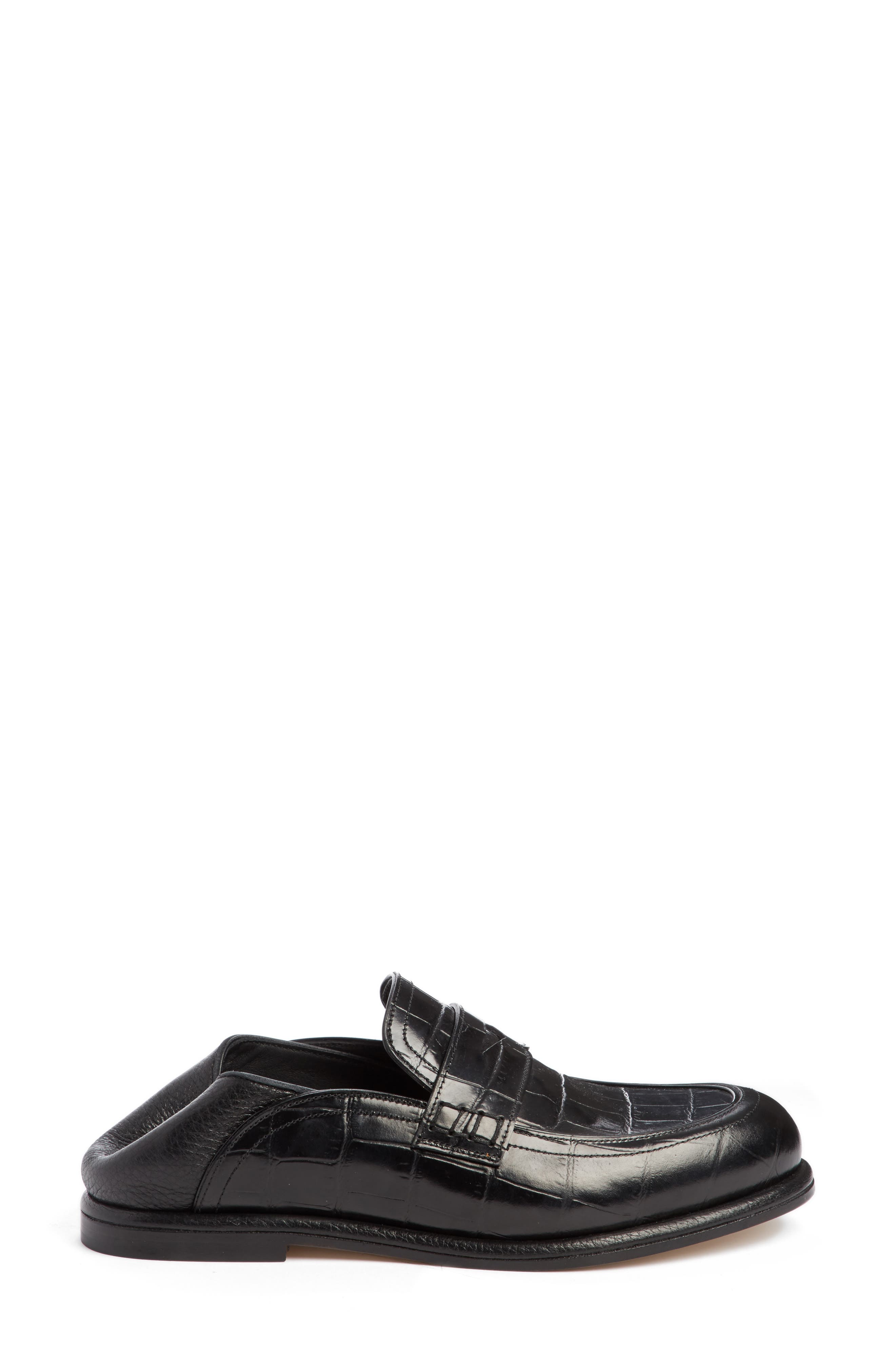 Croc Embossed Convertible Loafer,                             Alternate thumbnail 4, color,                             Black