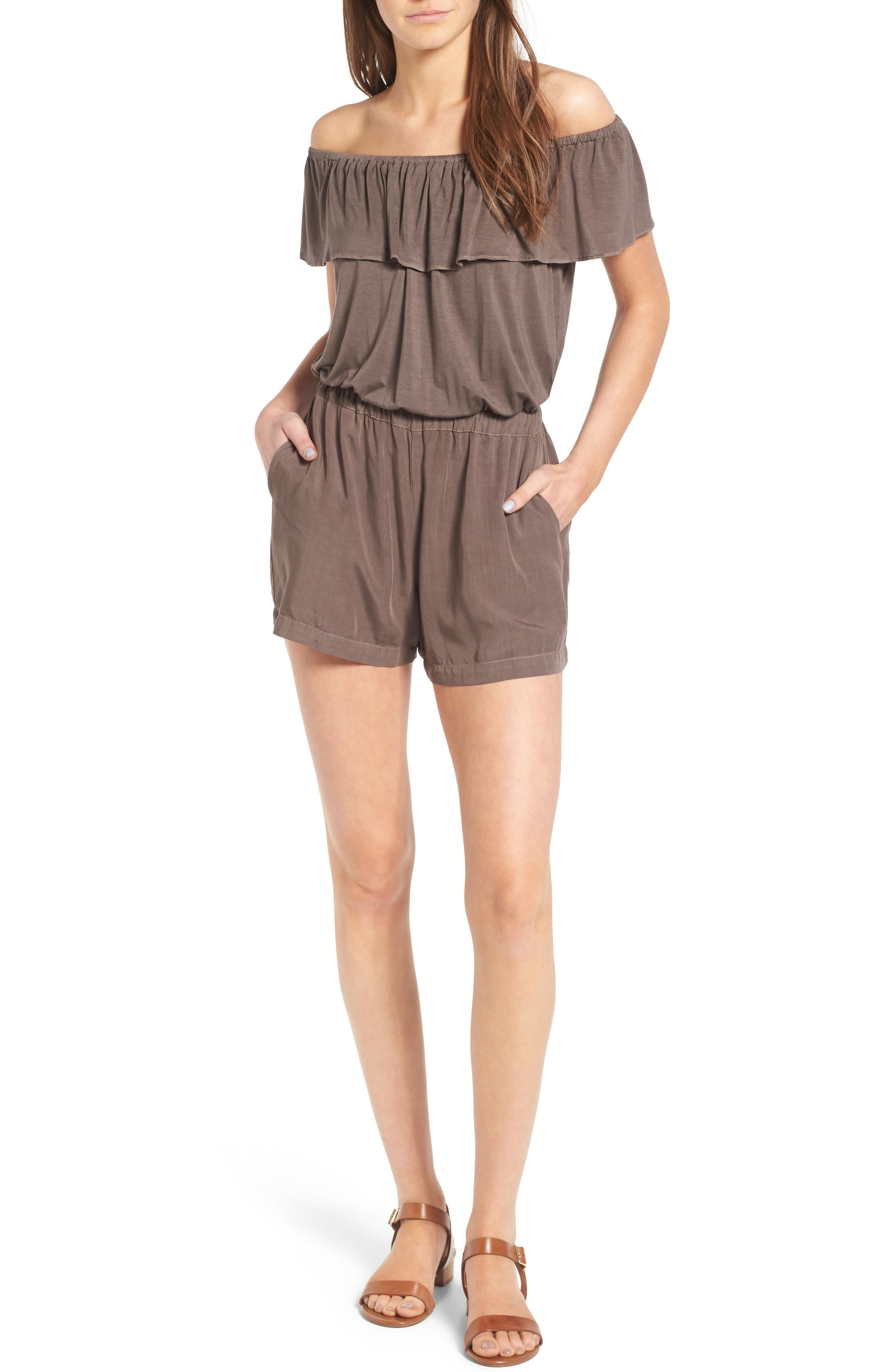 Off the Shoulder Chambray Romper,                             Main thumbnail 1, color,                             Military Olive