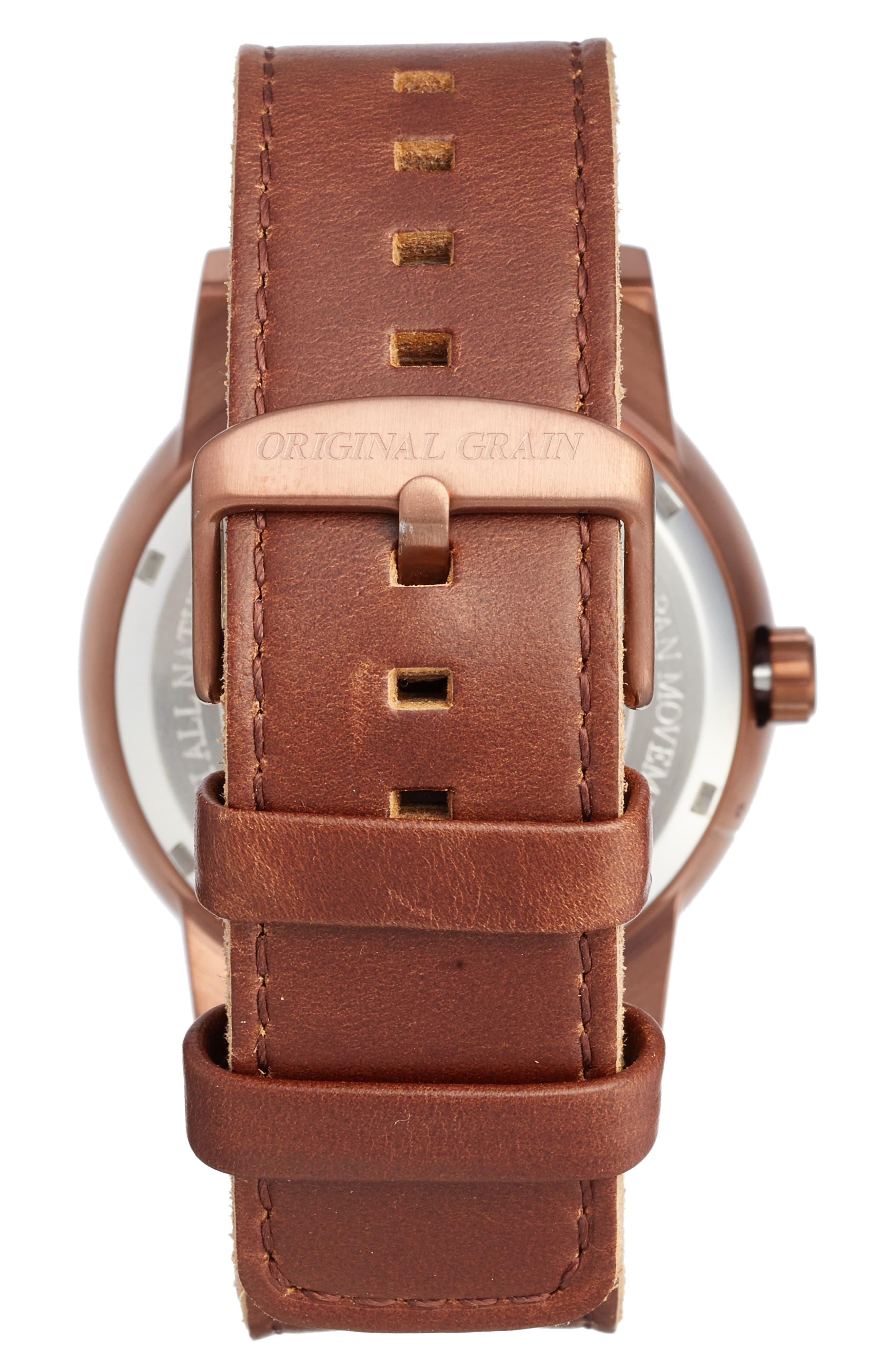 The Barrel Leather Strap Watch, 47mm,                             Alternate thumbnail 2, color,                             Whiskey Oak/ Espresso