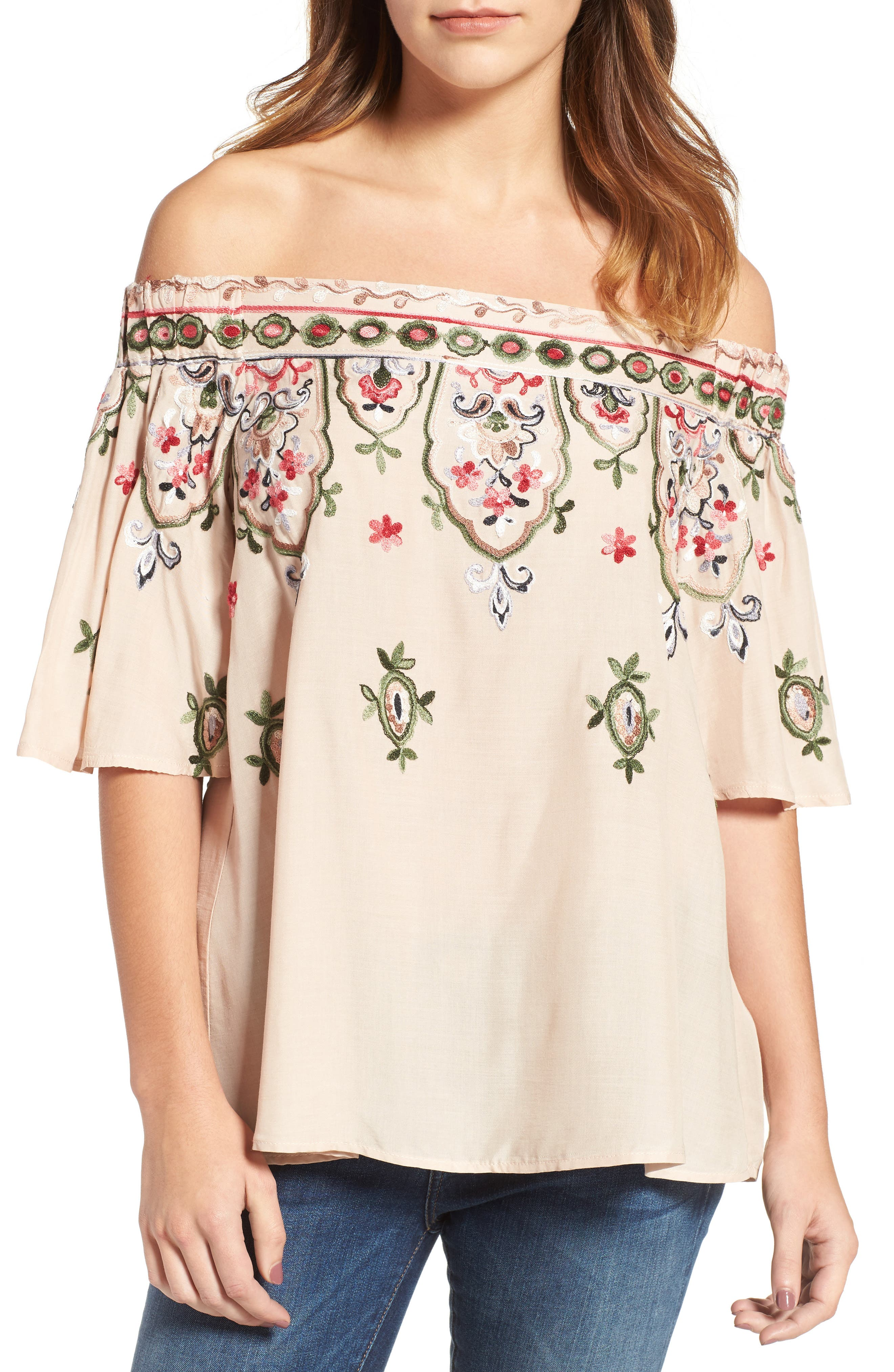 Embroidered Off the Shoulder Top,                         Main,                         color, Sand Dollar