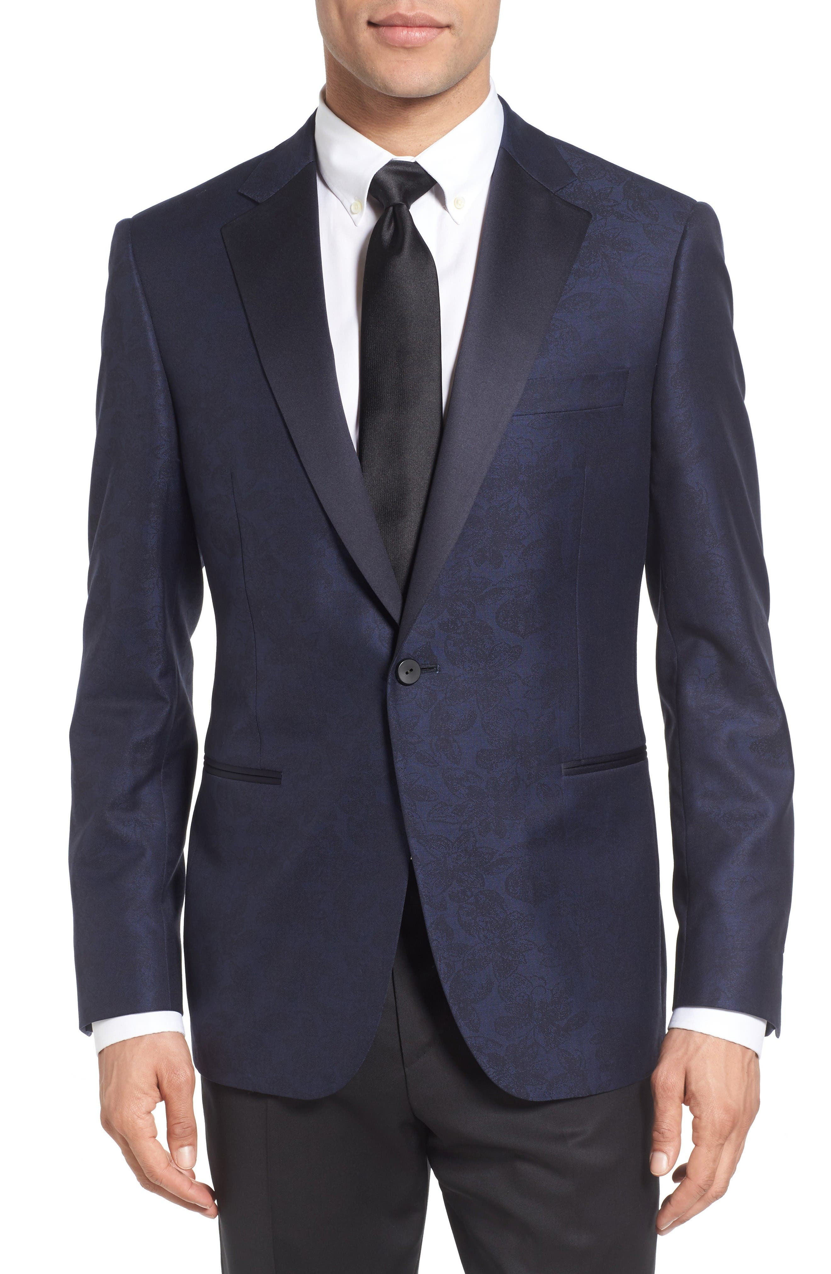 Classic Fit Wool & Cotton Dinner Jacket,                         Main,                         color, Navy