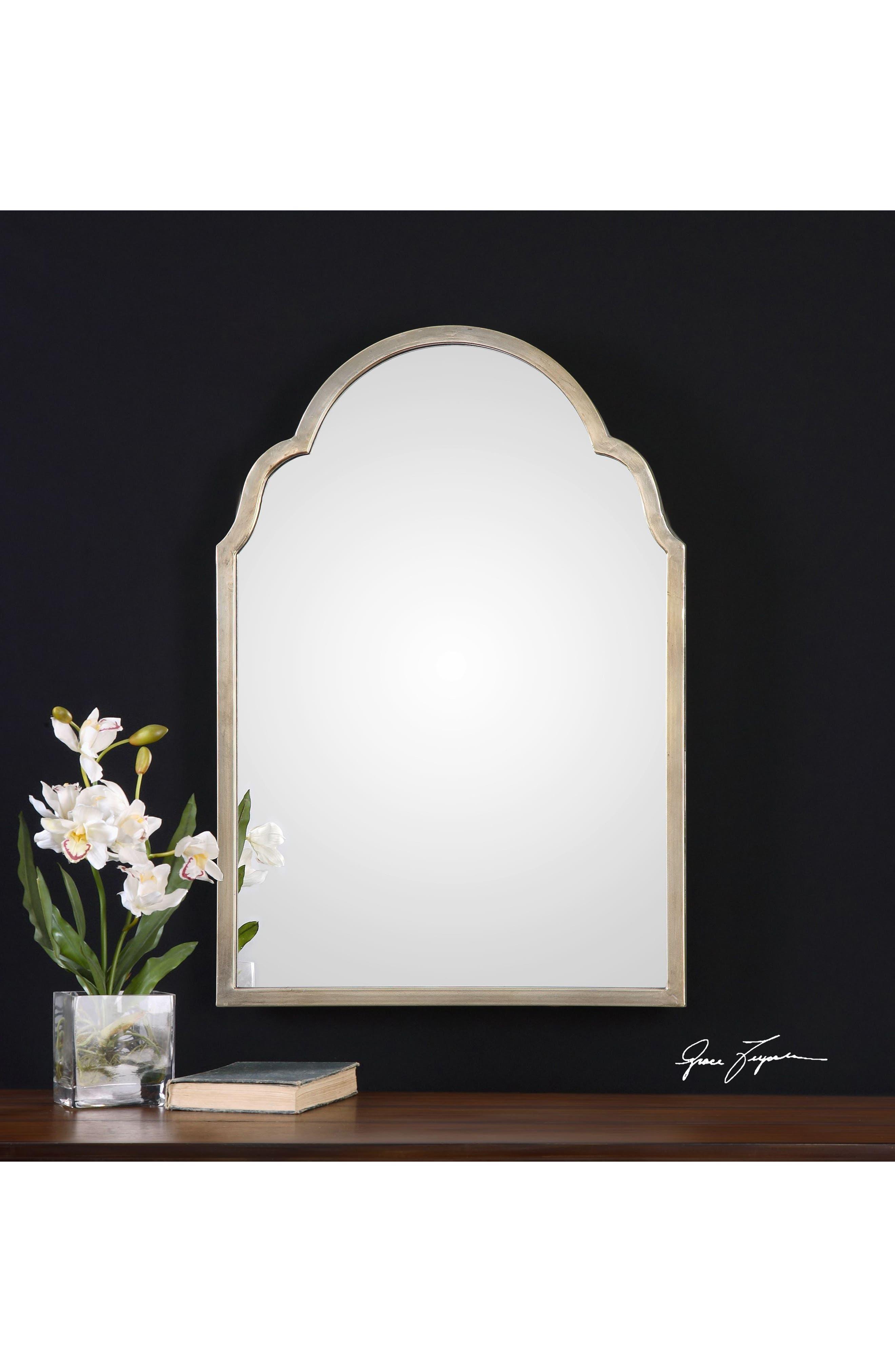 Brayden Small Arch Mirror,                             Alternate thumbnail 2, color,                             Metallic Silver