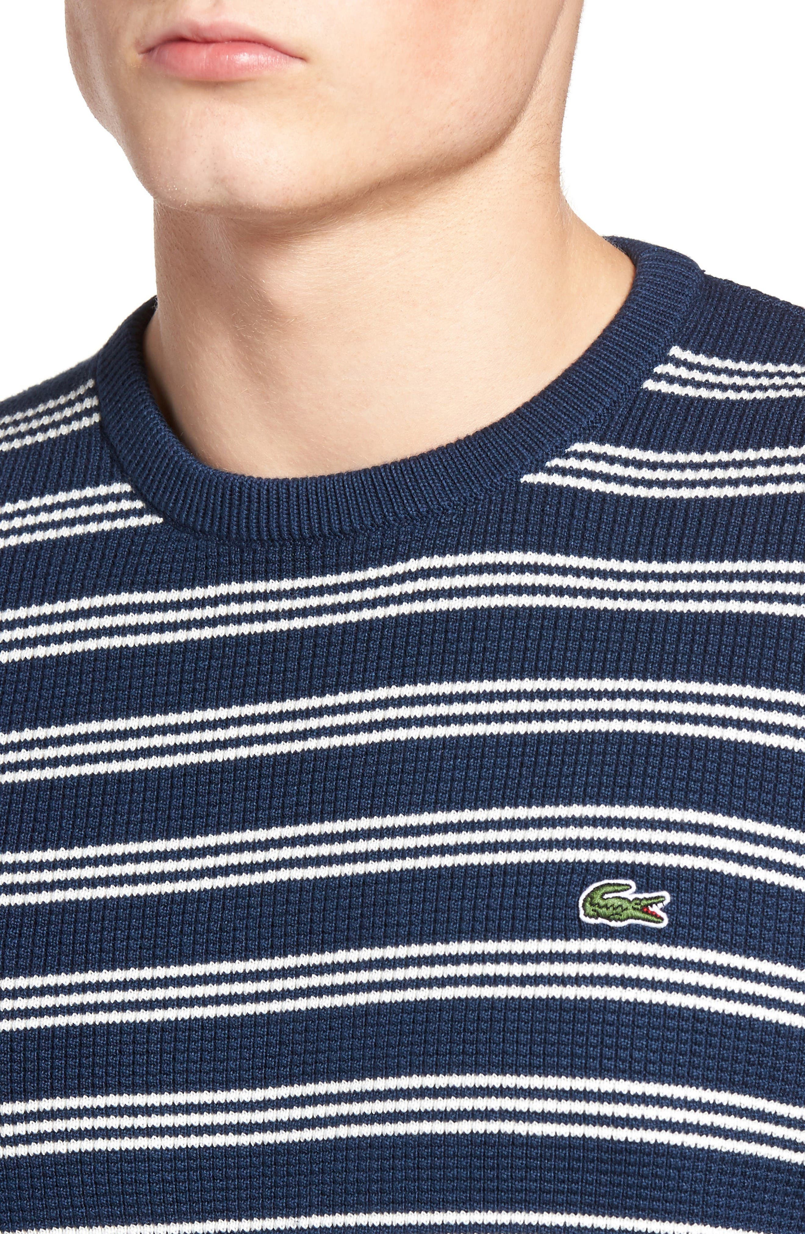 Alternate Image 4  - Lacoste Waffle Stitch Stripe Sweater