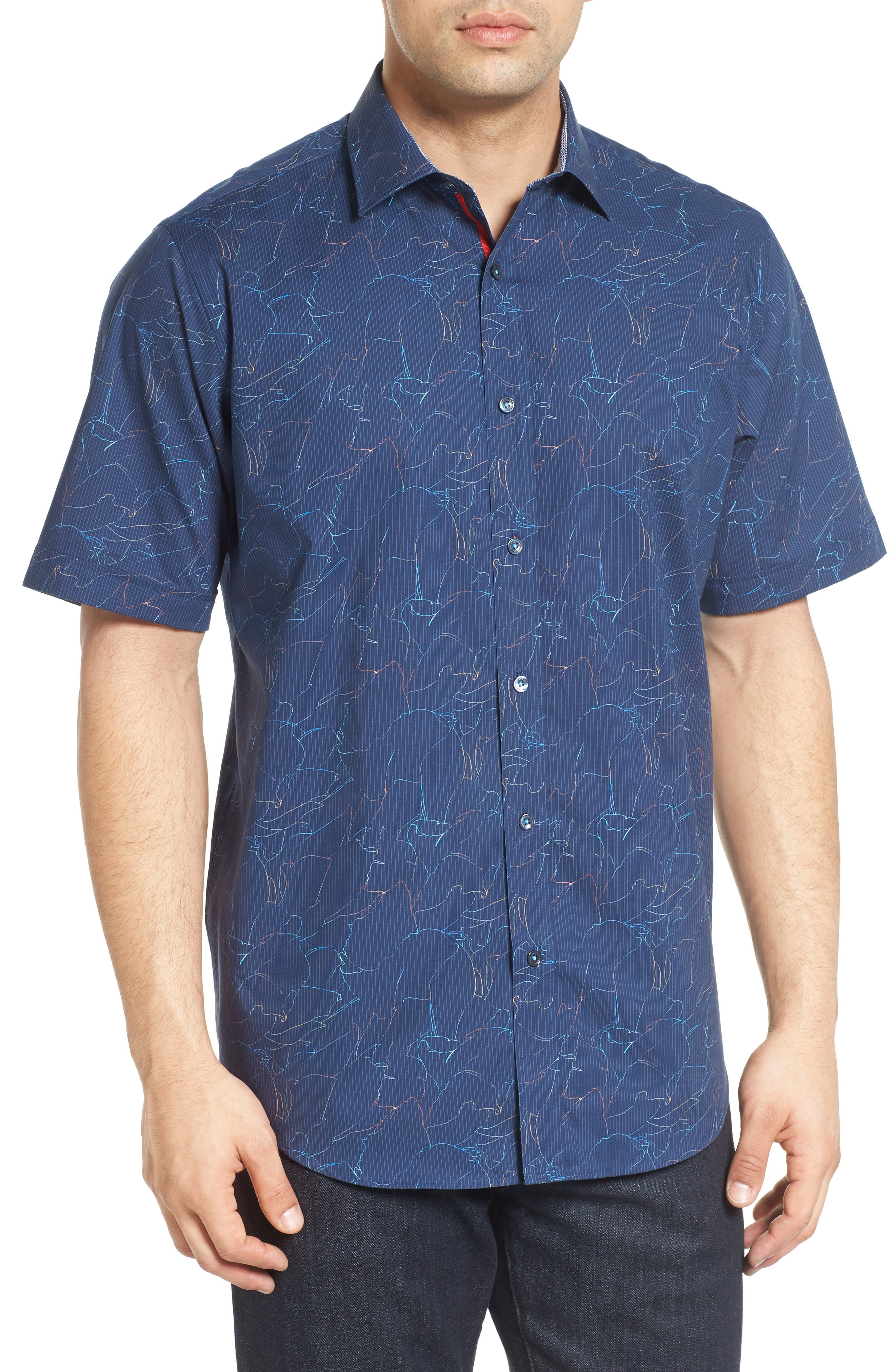 Classic Fit Crackle Stripe Sport Shirt,                         Main,                         color, Midnight