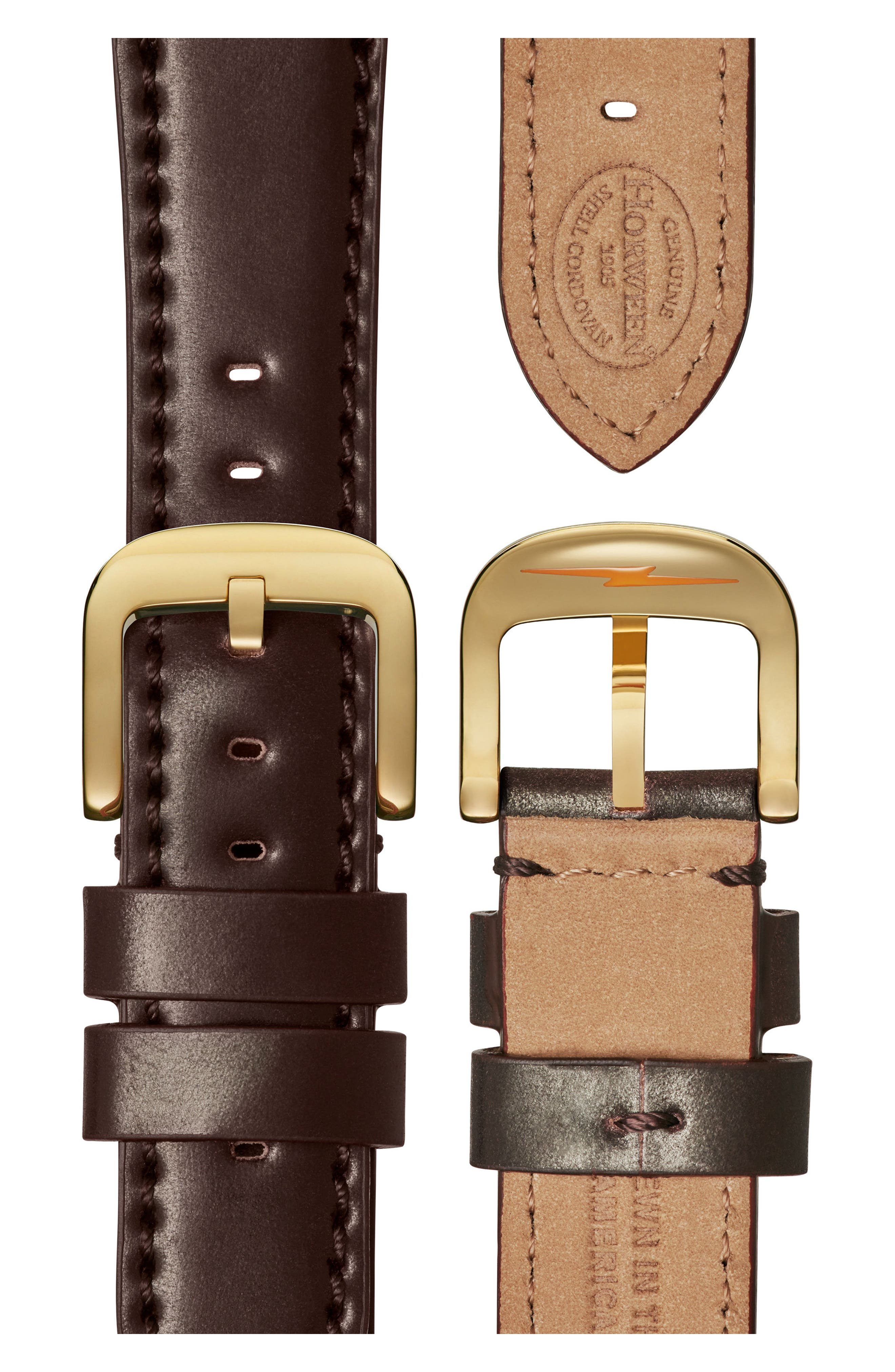 Bolt Leather Strap Watch, 42mm,                             Alternate thumbnail 4, color,                             Oxblood/ Gold Sunray/ Gold