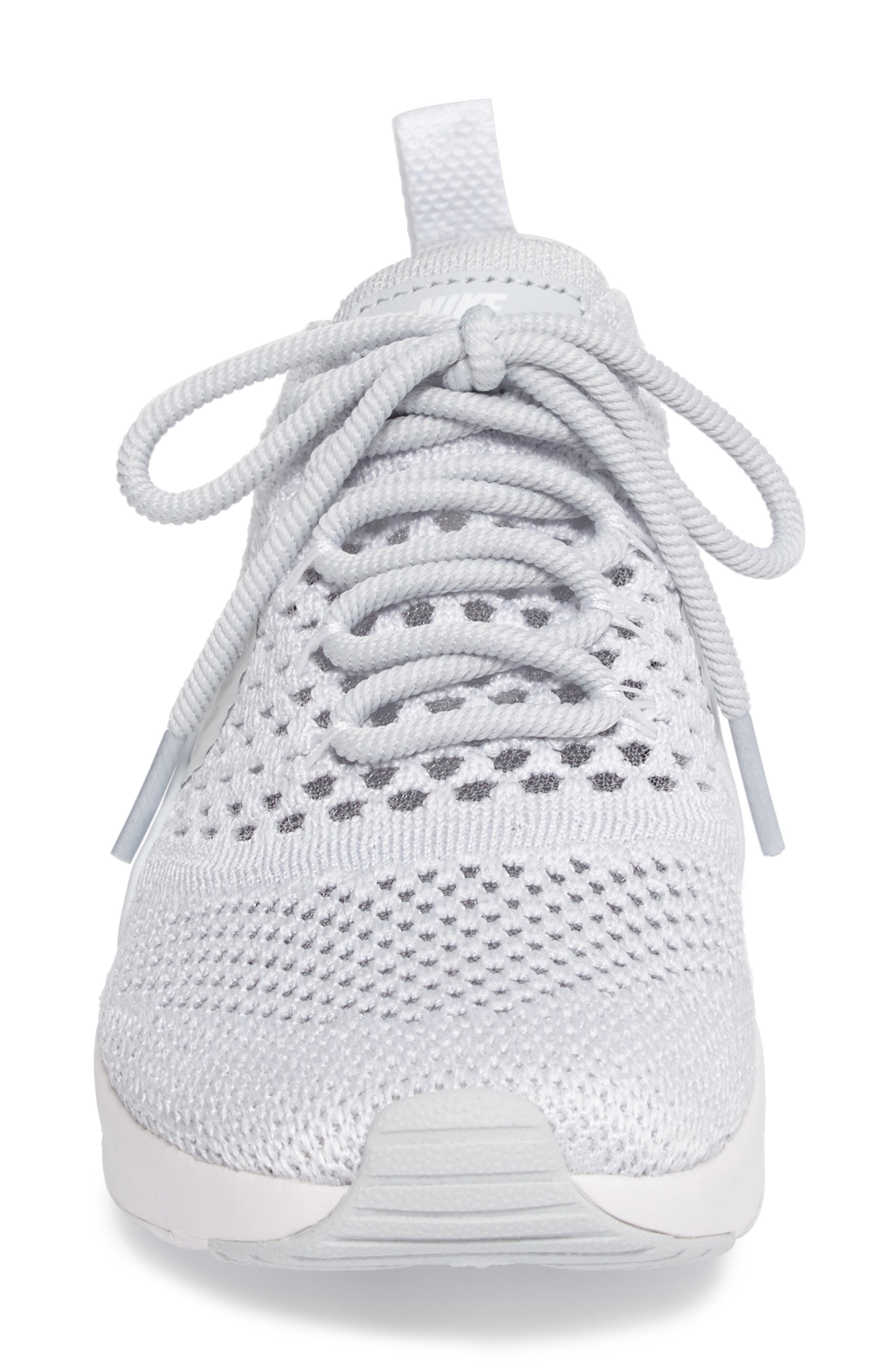 Air Max Thea Ultra Flyknit Sneaker,                             Alternate thumbnail 4, color,                             Pure Platinum/ White