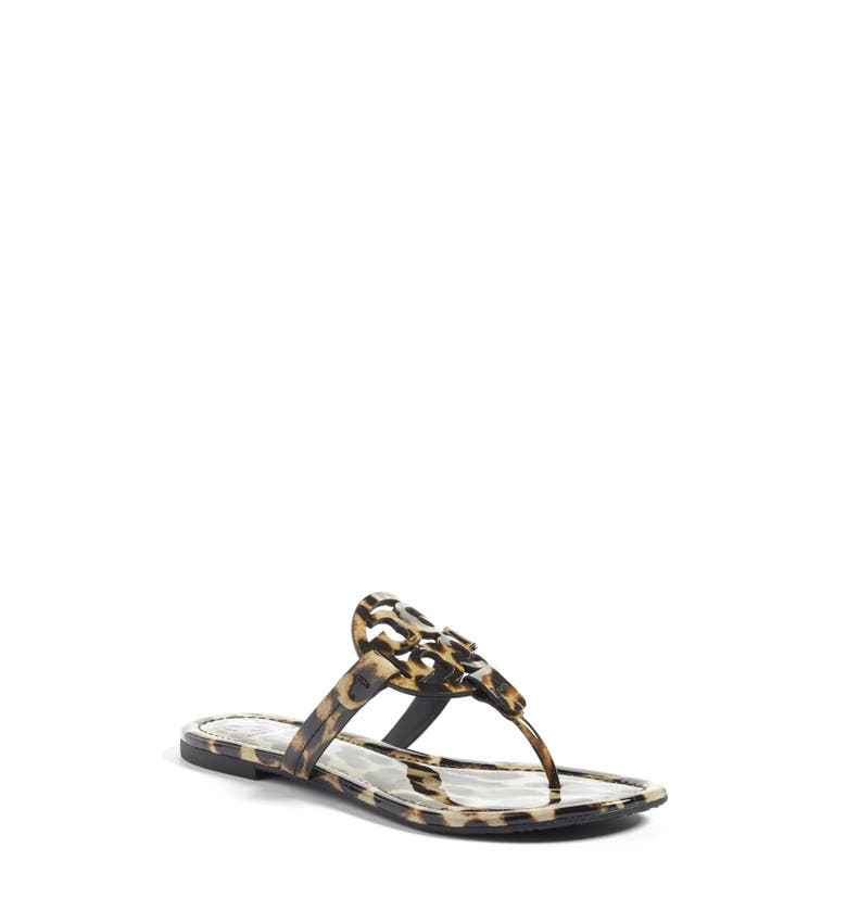 0dd556ad0afcd TORY BURCH MILLER NATURAL LEOPARD PRINT LEATHER FLAT SANDALS