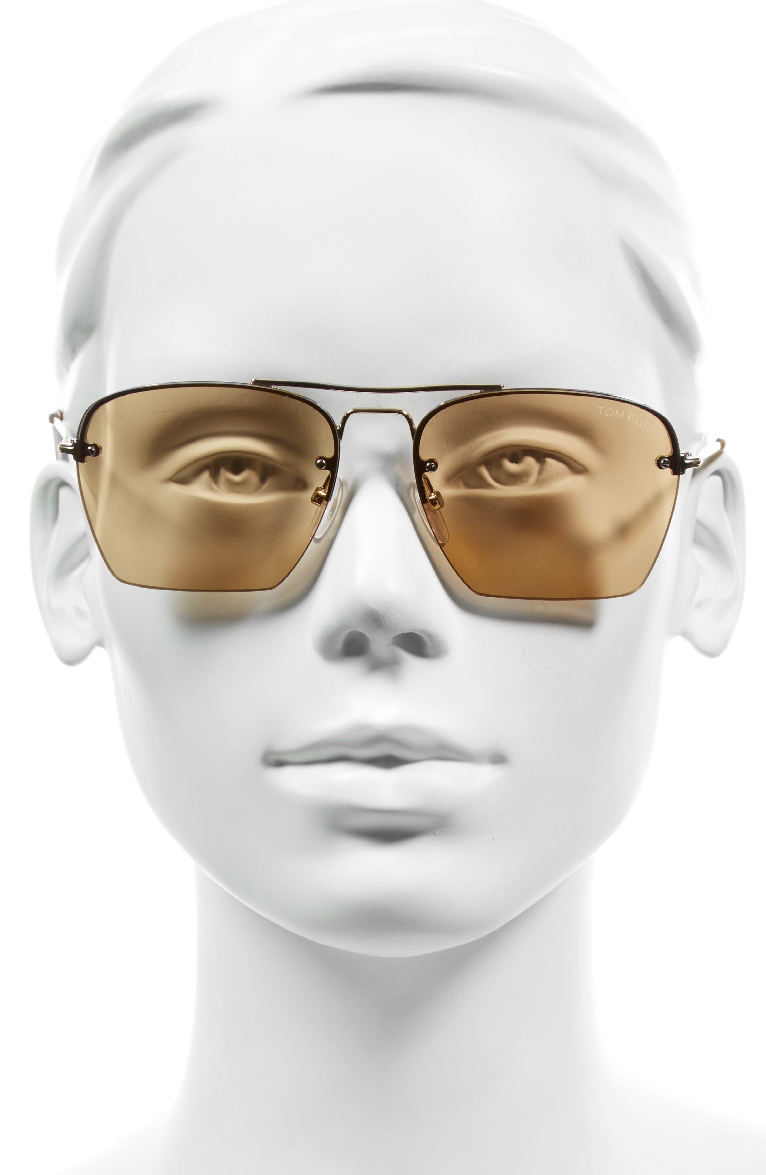 Walker 57mm Semi Rimless Square Sunglasses,                             Alternate thumbnail 2, color,                             Rose Gold/ Brown