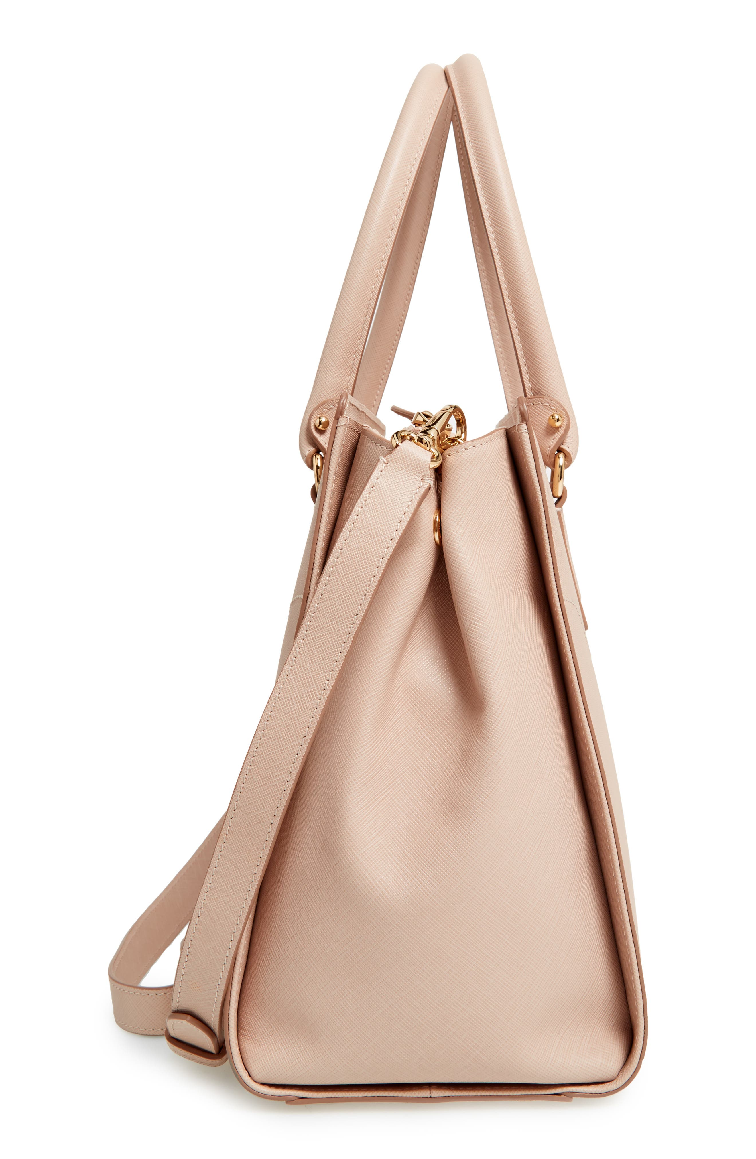 Saffiano Leather Tote,                             Alternate thumbnail 5, color,                             New Bisque Macaron
