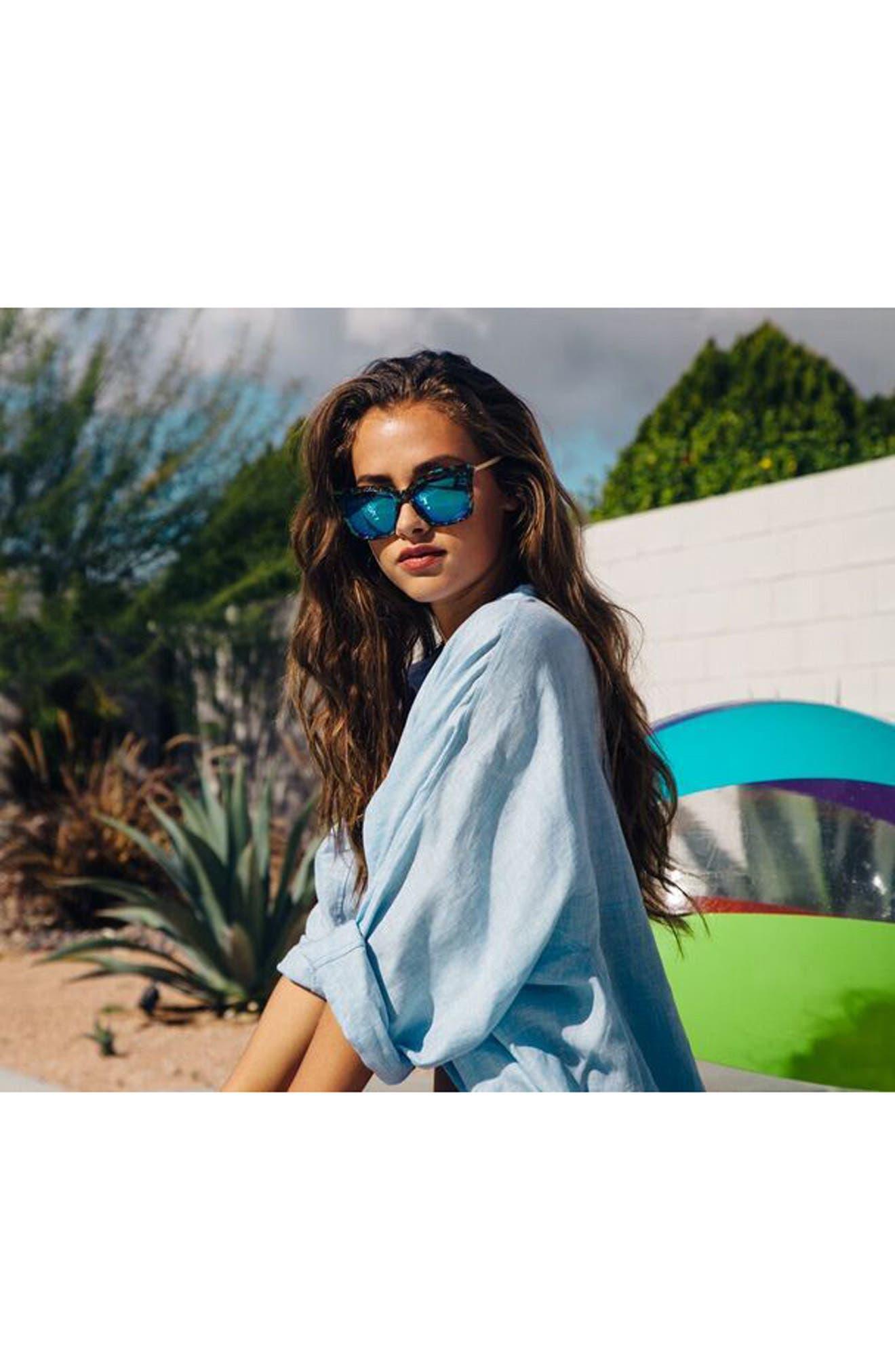 Bella 52mm Polarized Sunglasses,                             Alternate thumbnail 3, color,                             Tortoise/ Blue