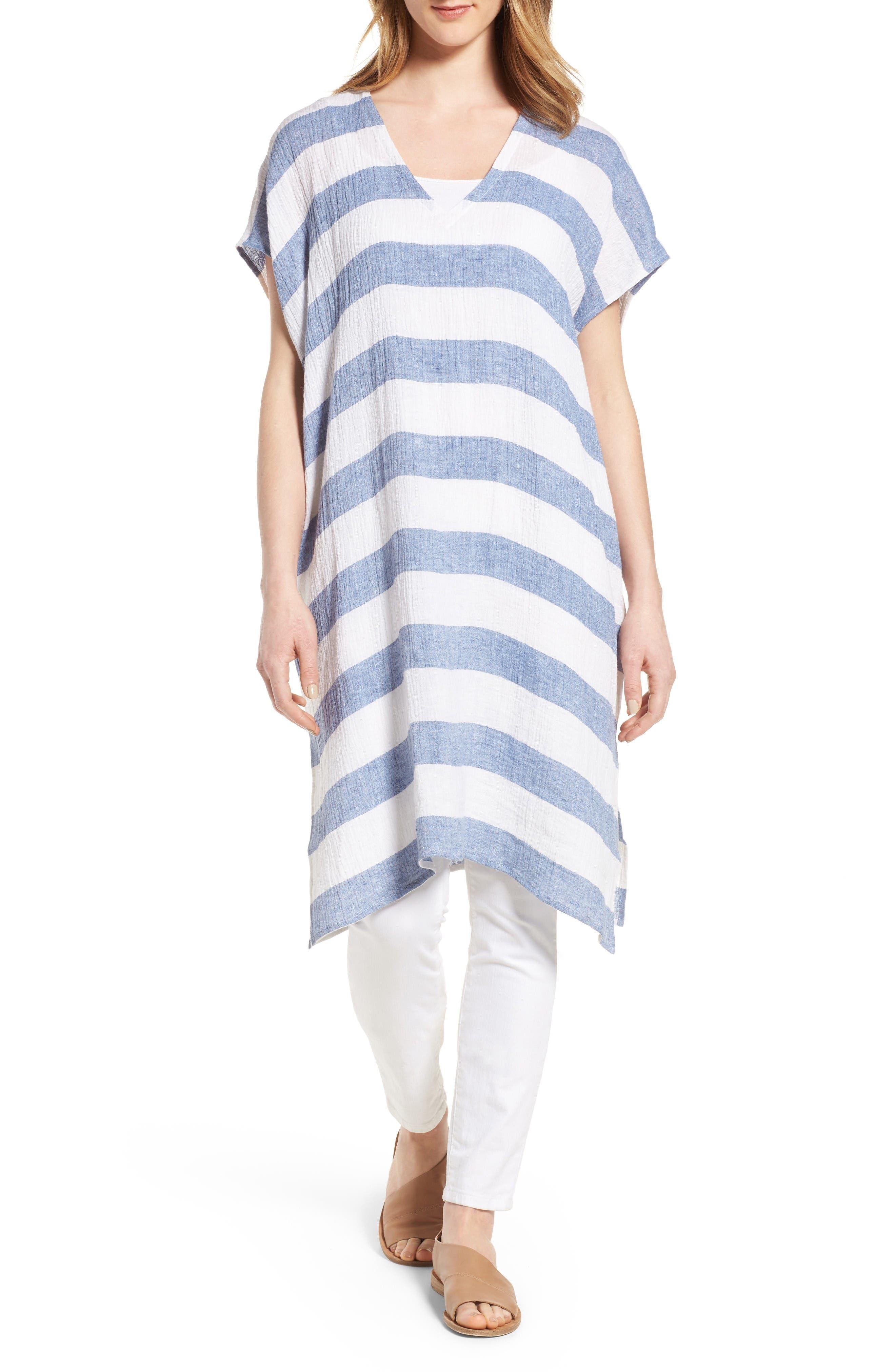 Eileen Fisher Stripe Organic Linen Tunic (Regular & Petite)