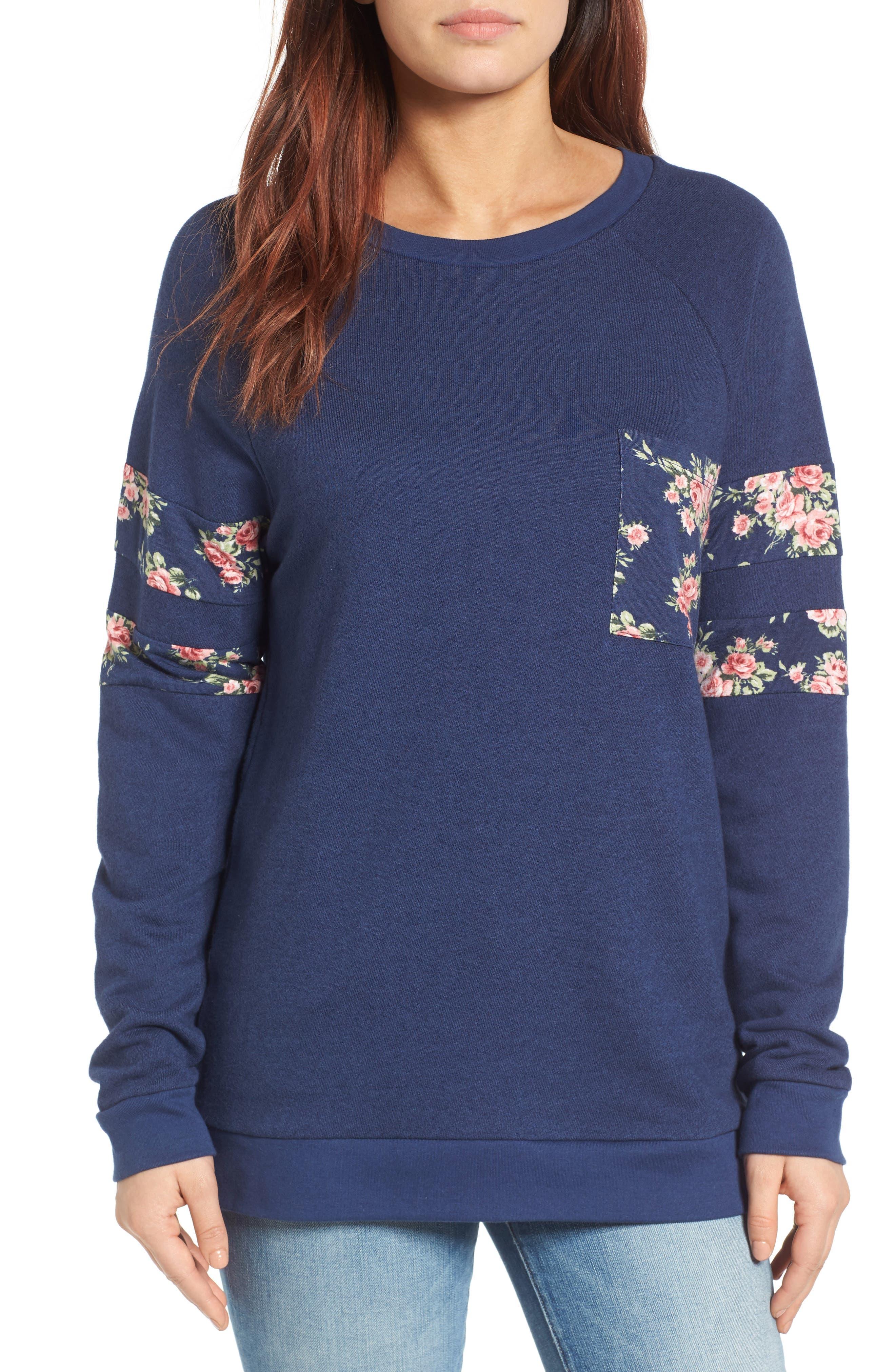 Print Detail Pocket Sweatshirt,                             Main thumbnail 1, color,                             Navy