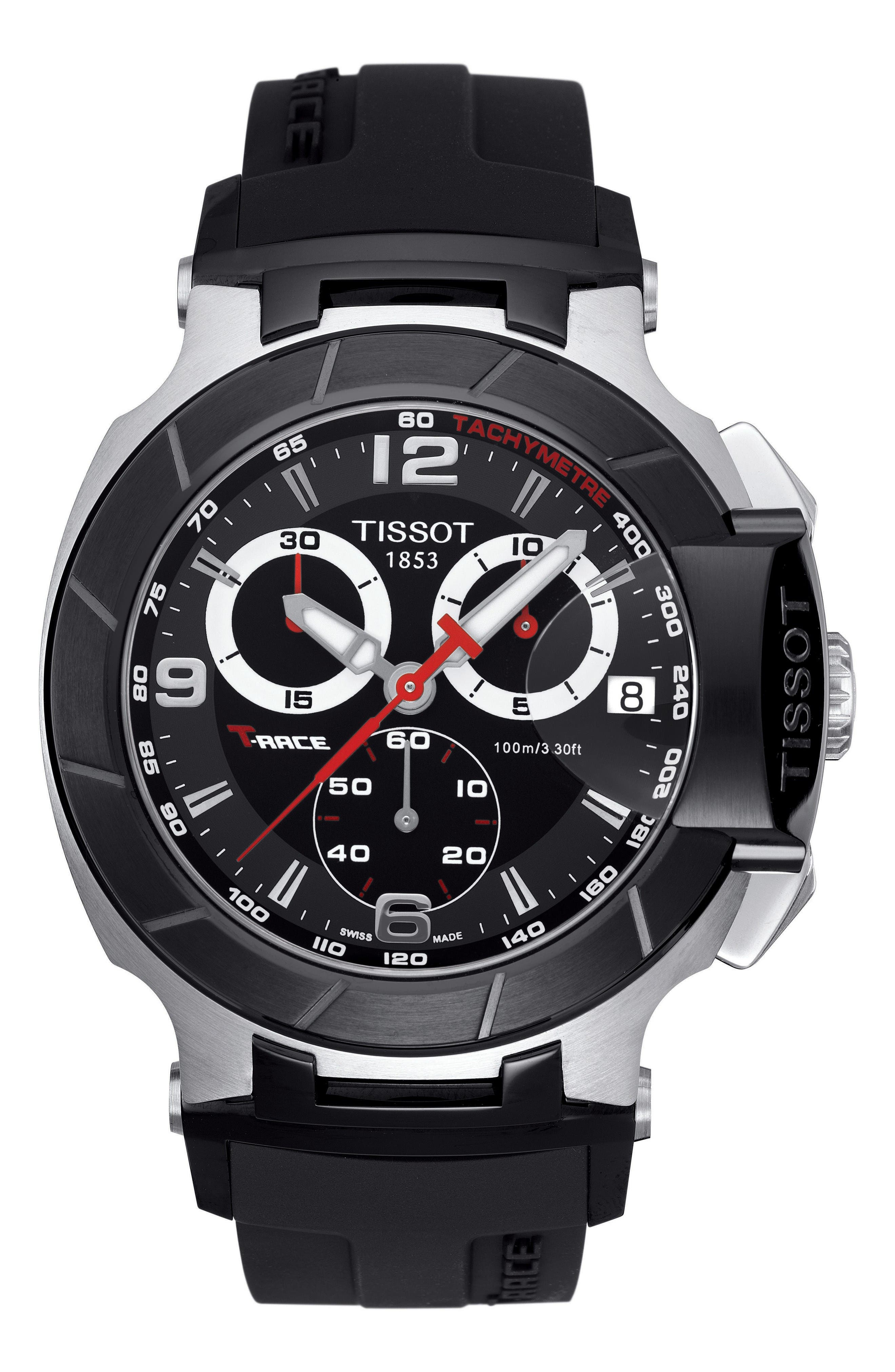 T-Race Chronograph Silicone Strap Watch, 50mm,                             Main thumbnail 1, color,                             Black/ Silver