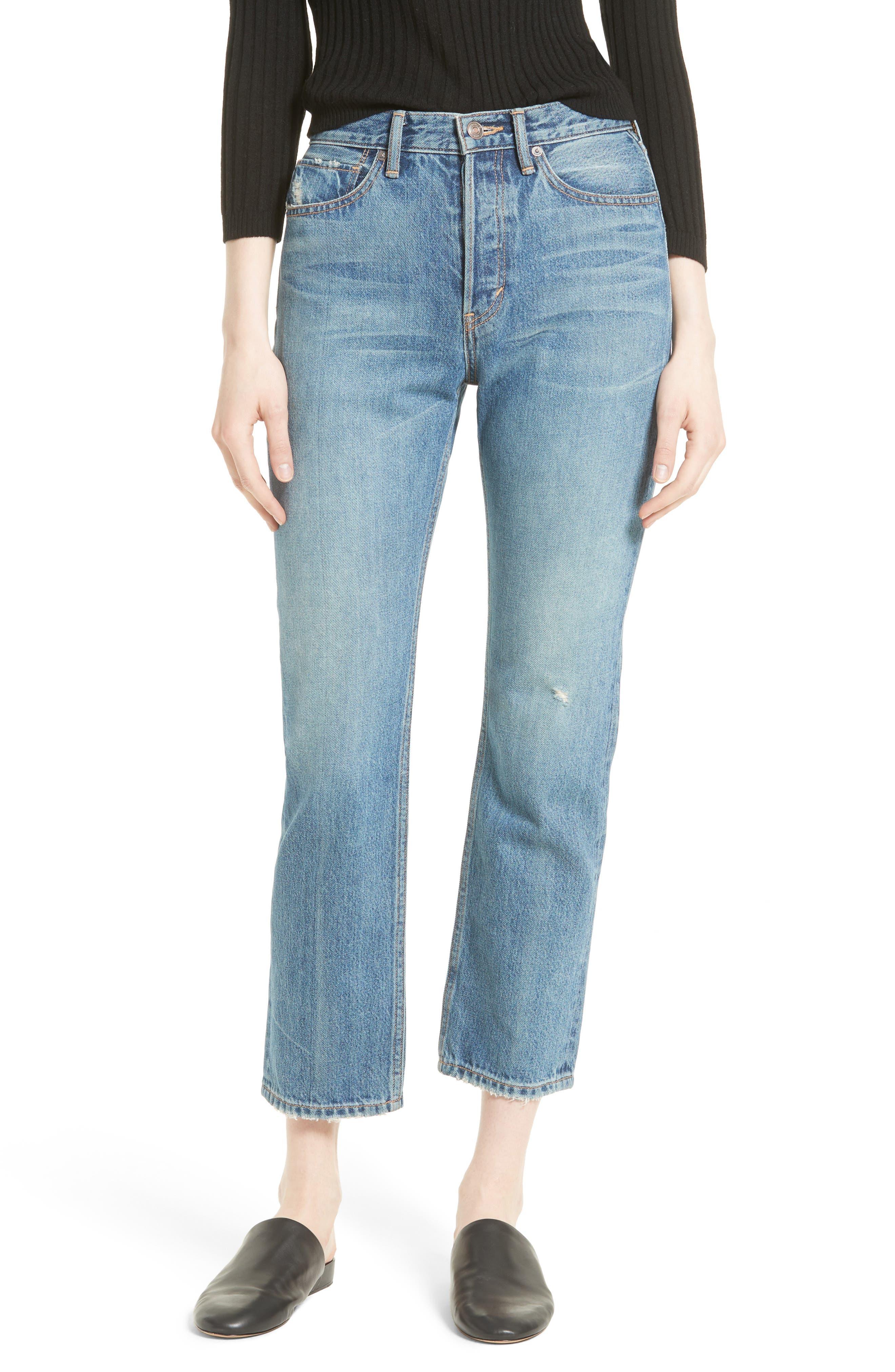 High Waist Vintage Straight Leg Jeans,                             Main thumbnail 1, color,                             Medium Wash