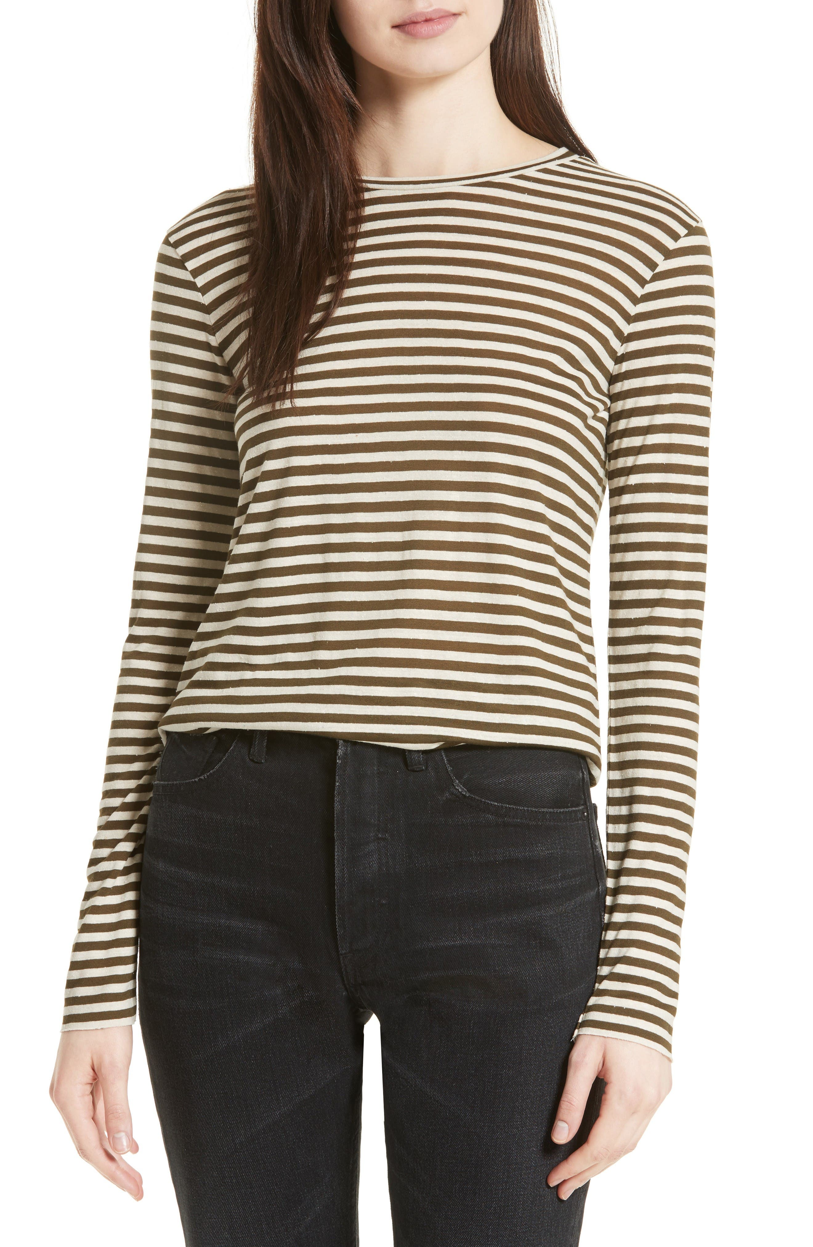 Midi Stripe Long Sleeve Tee,                         Main,                         color, Natural/ Olive