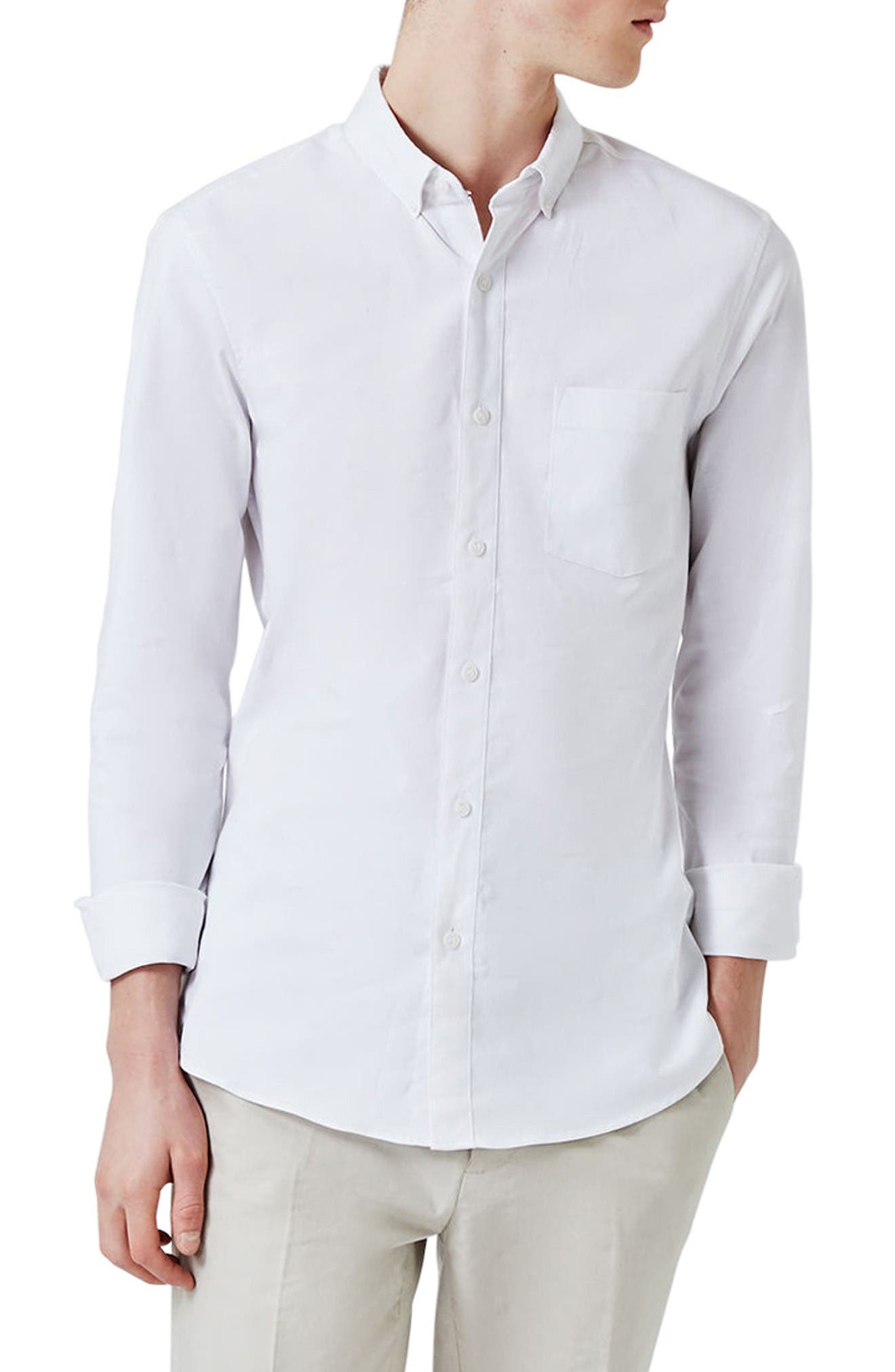 Muscle Fit Oxford Shirt,                         Main,                         color, White