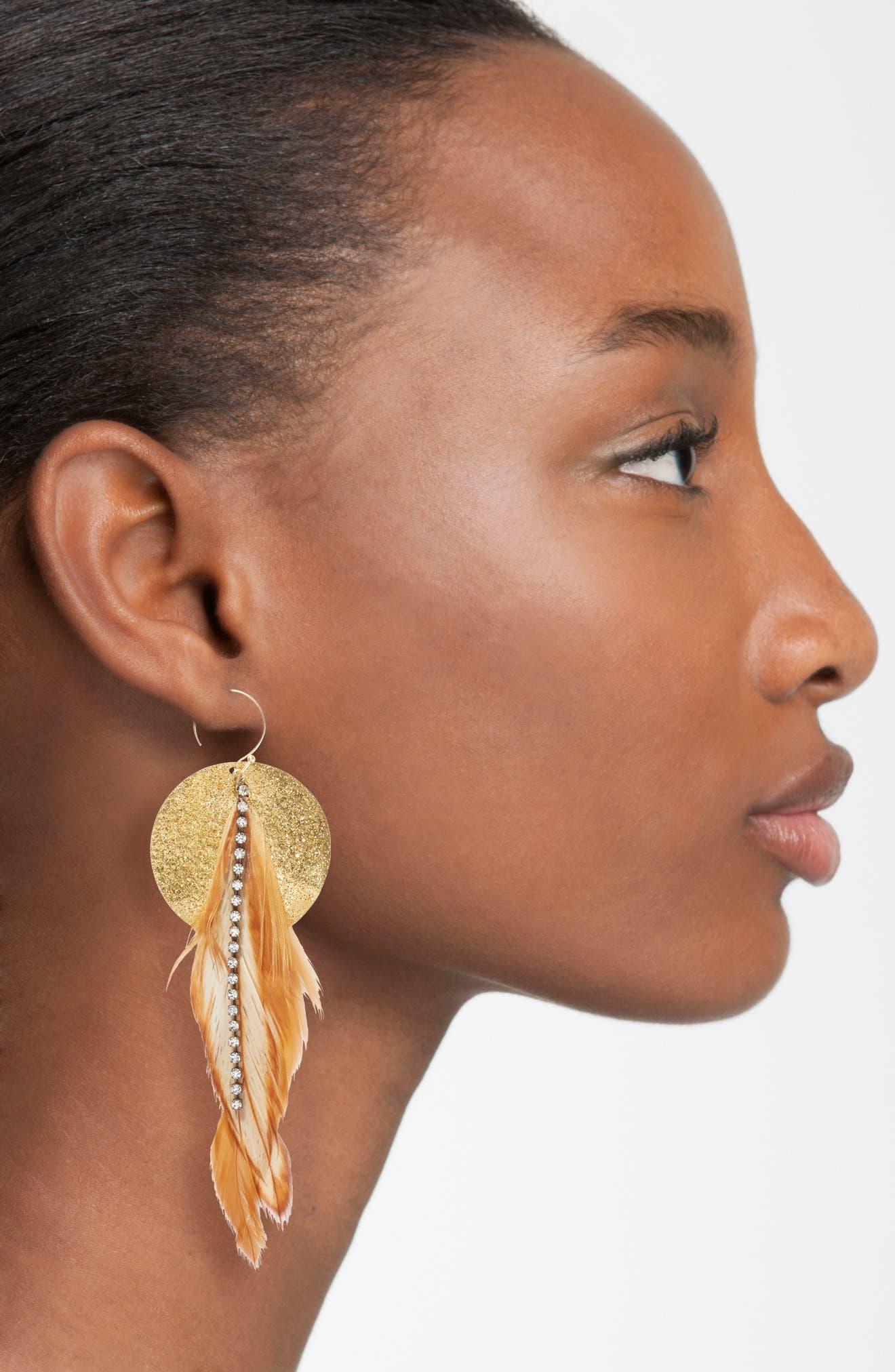 Feather Disk Drop Earrings,                             Alternate thumbnail 2, color,                             Tan
