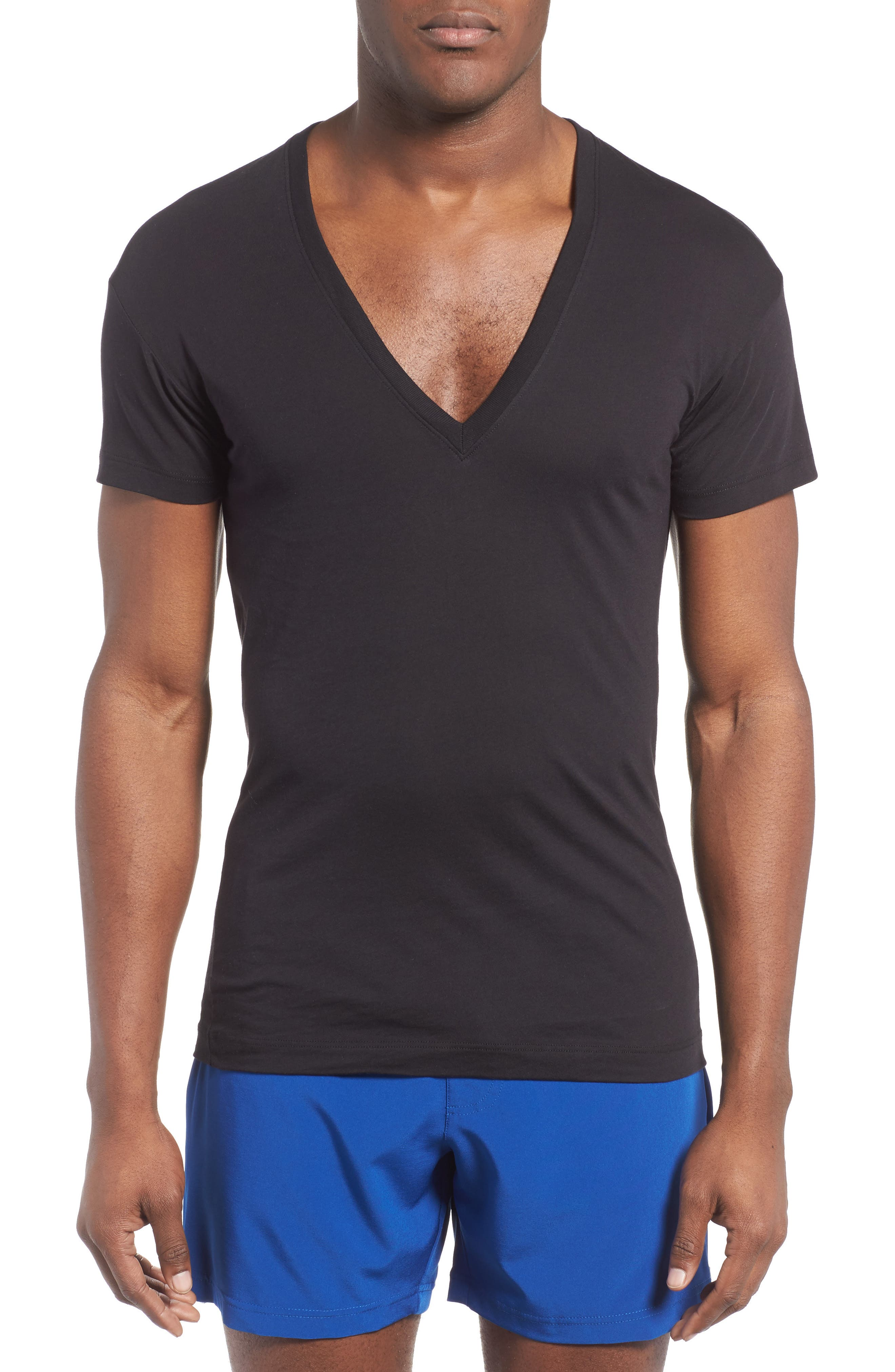 Slim Fit Pima Cotton Deep V-Neck T-Shirt,                             Main thumbnail 1, color,                             Black