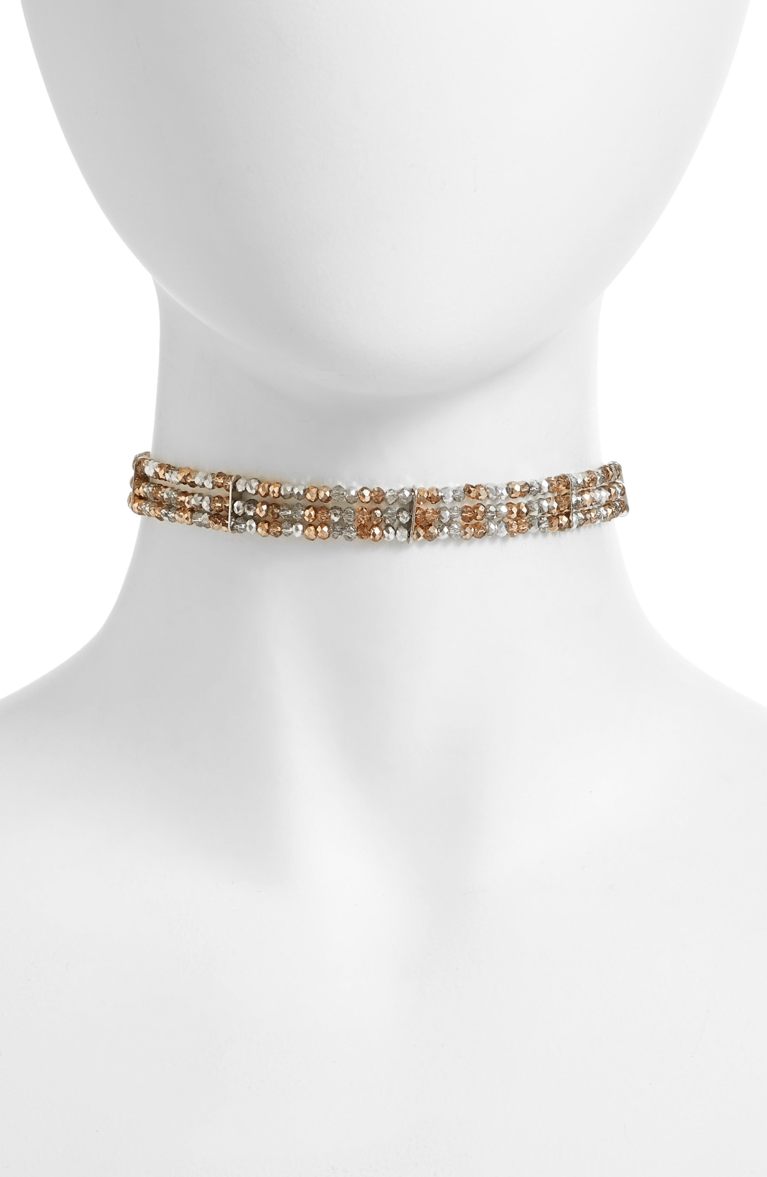 Beaded Multistrand Choker,                         Main,                         color, Radiance / Silver